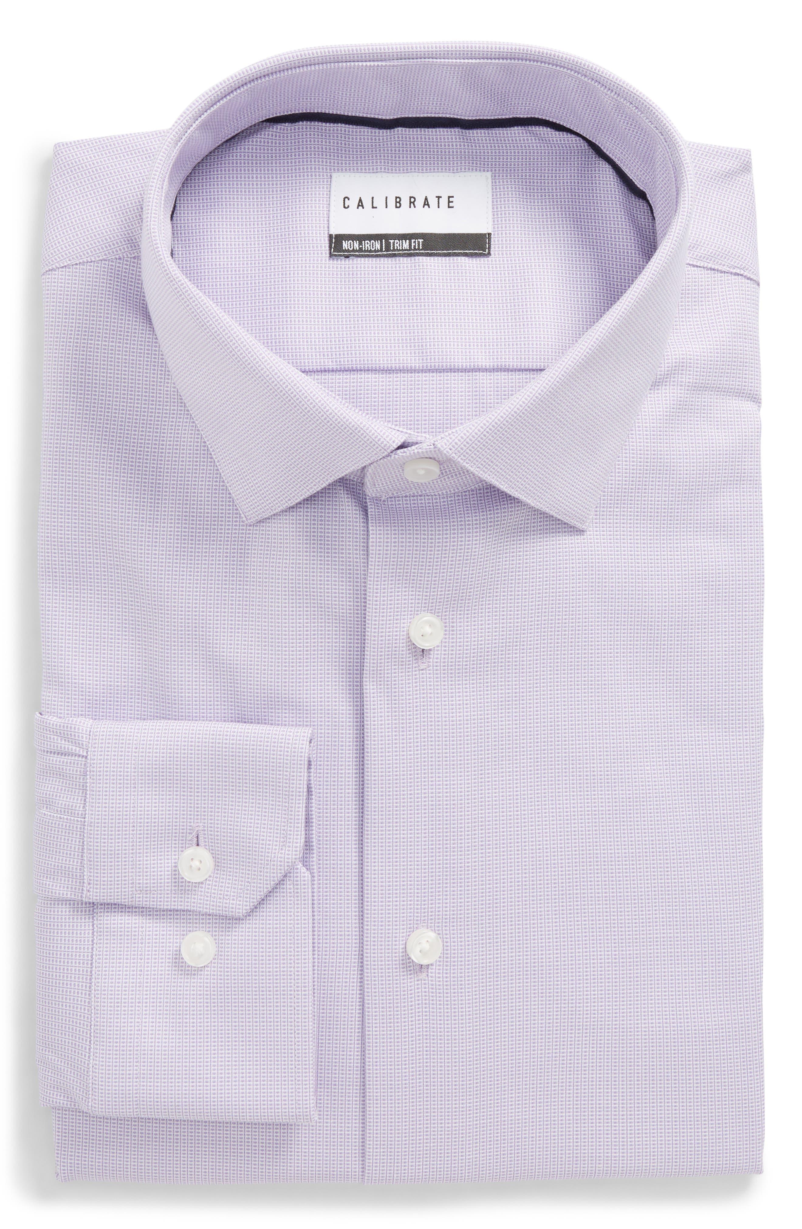 Trim Fit Non-Iron Stretch Dress Shirt,                         Main,                         color, Purple Rapsody
