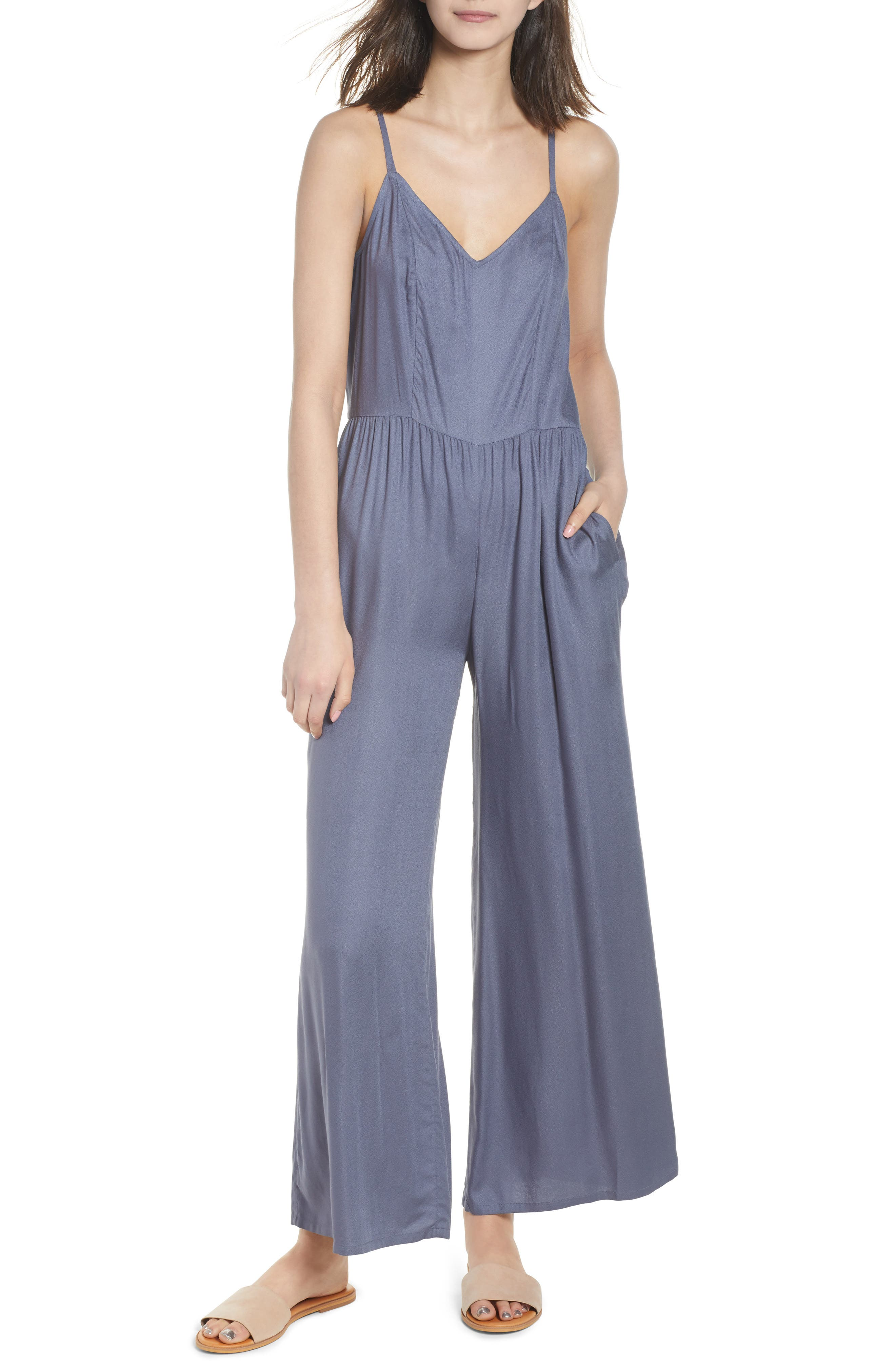 Gathered Waist Jumpsuit,                         Main,                         color, Grey Grisaille
