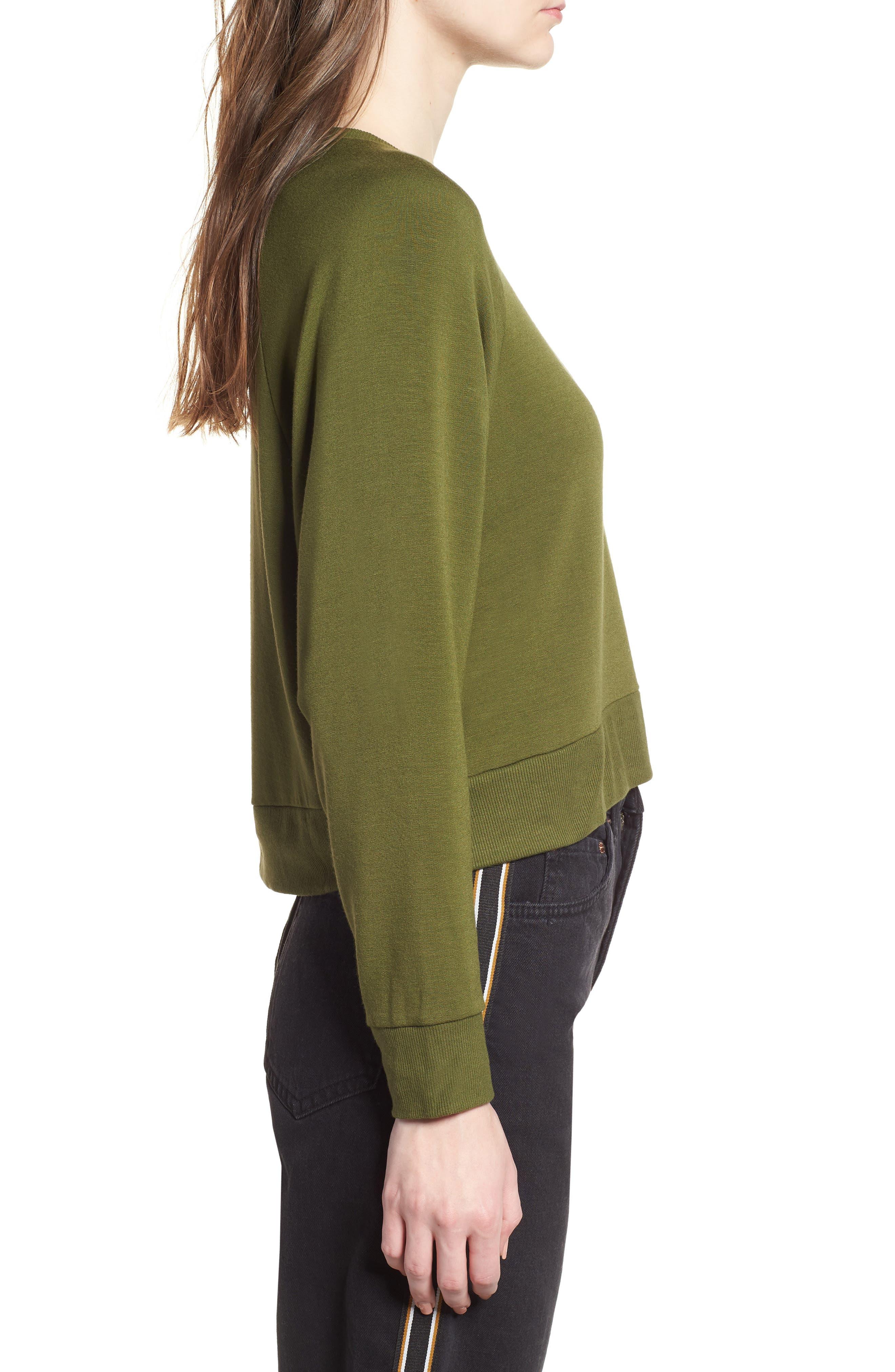 Raglan Sweatshirt,                             Alternate thumbnail 3, color,                             Olive