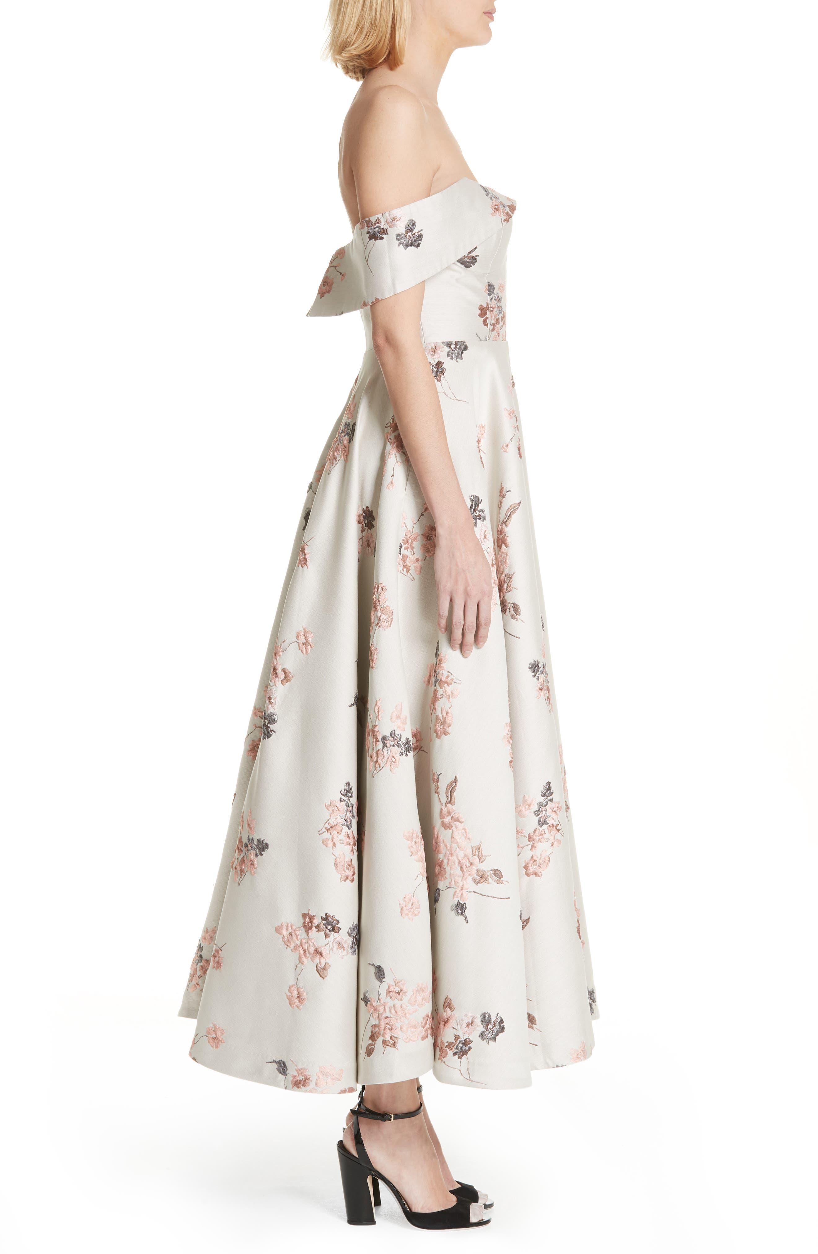 Metallic Floral Jacquard Off the Shoulder Dress,                             Alternate thumbnail 4, color,                             Beige/ Pink