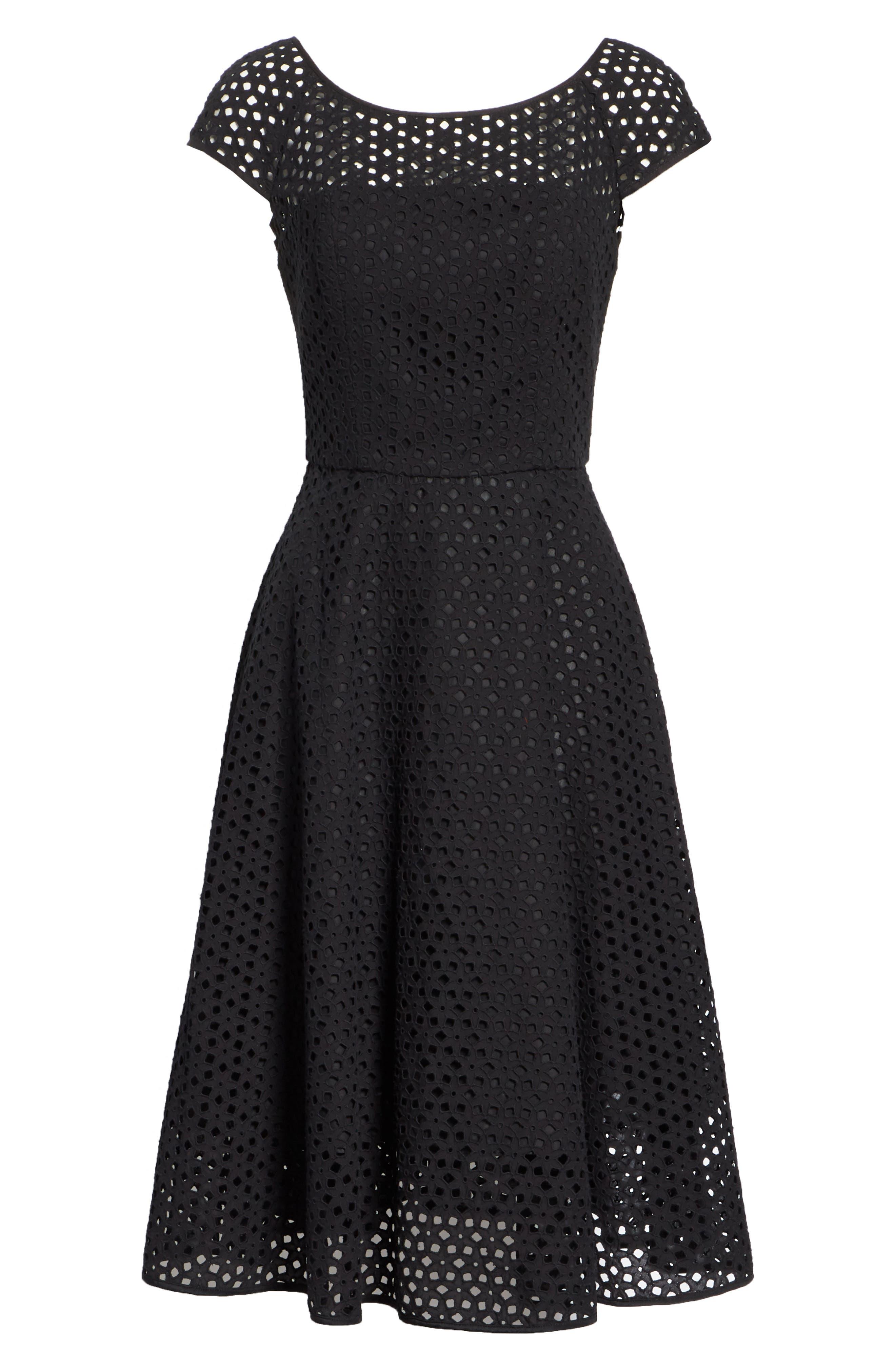 Cathy Cotton Eyelet Dress,                             Alternate thumbnail 6, color,                             Black
