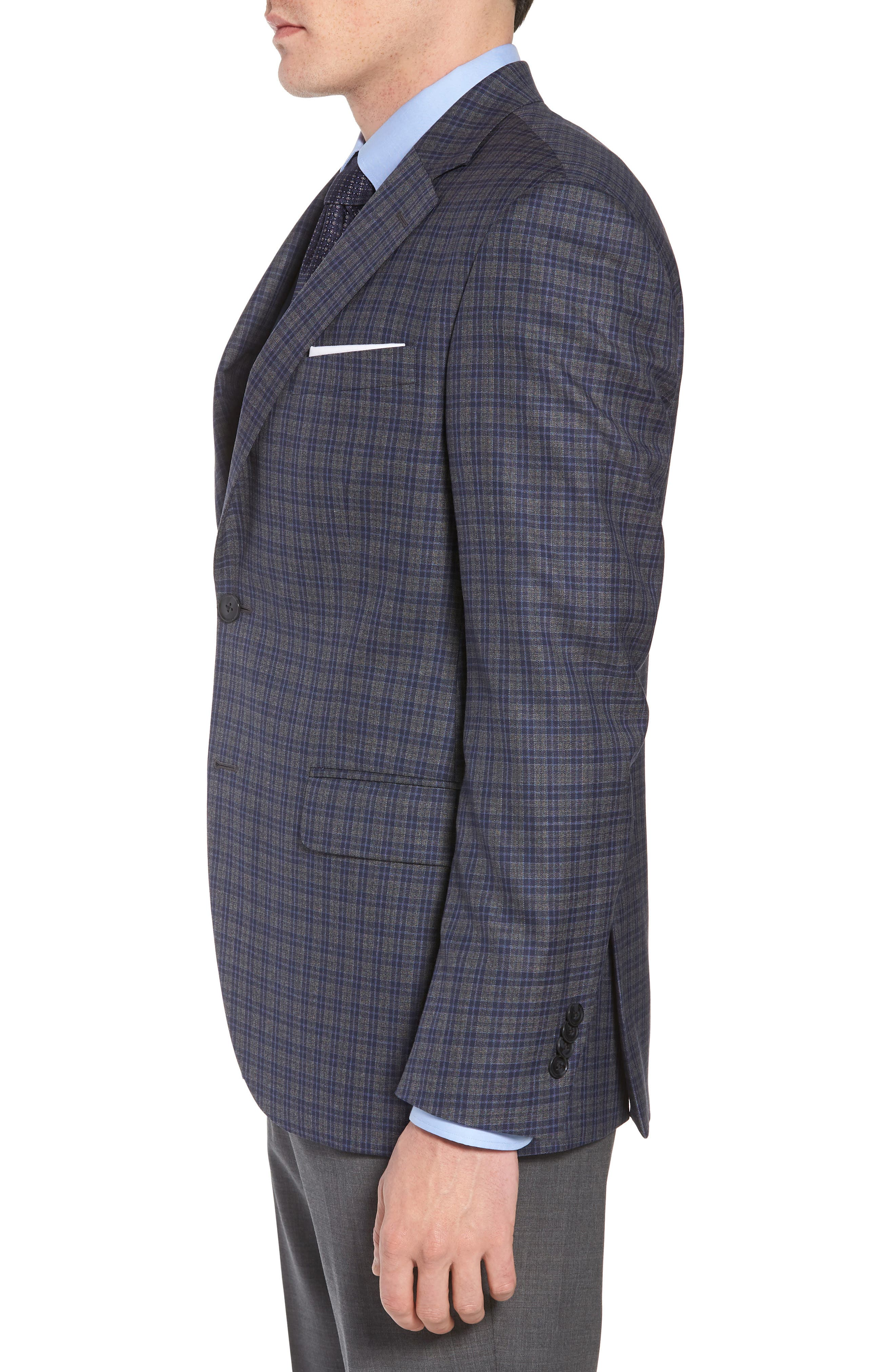 Classic Fit Check Wool Sport Coat,                             Alternate thumbnail 3, color,                             Grey/Blue