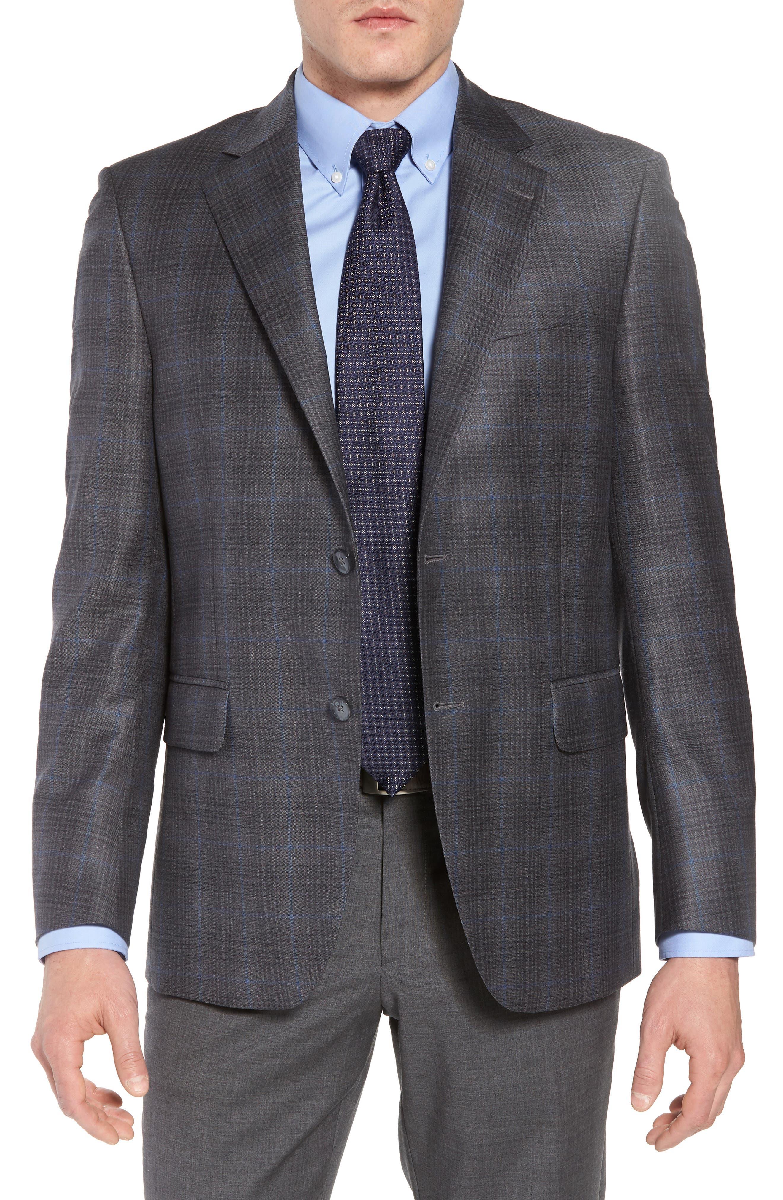 Classic Fit Plaid Wool Sport Coat,                             Main thumbnail 1, color,                             Grey/Blue