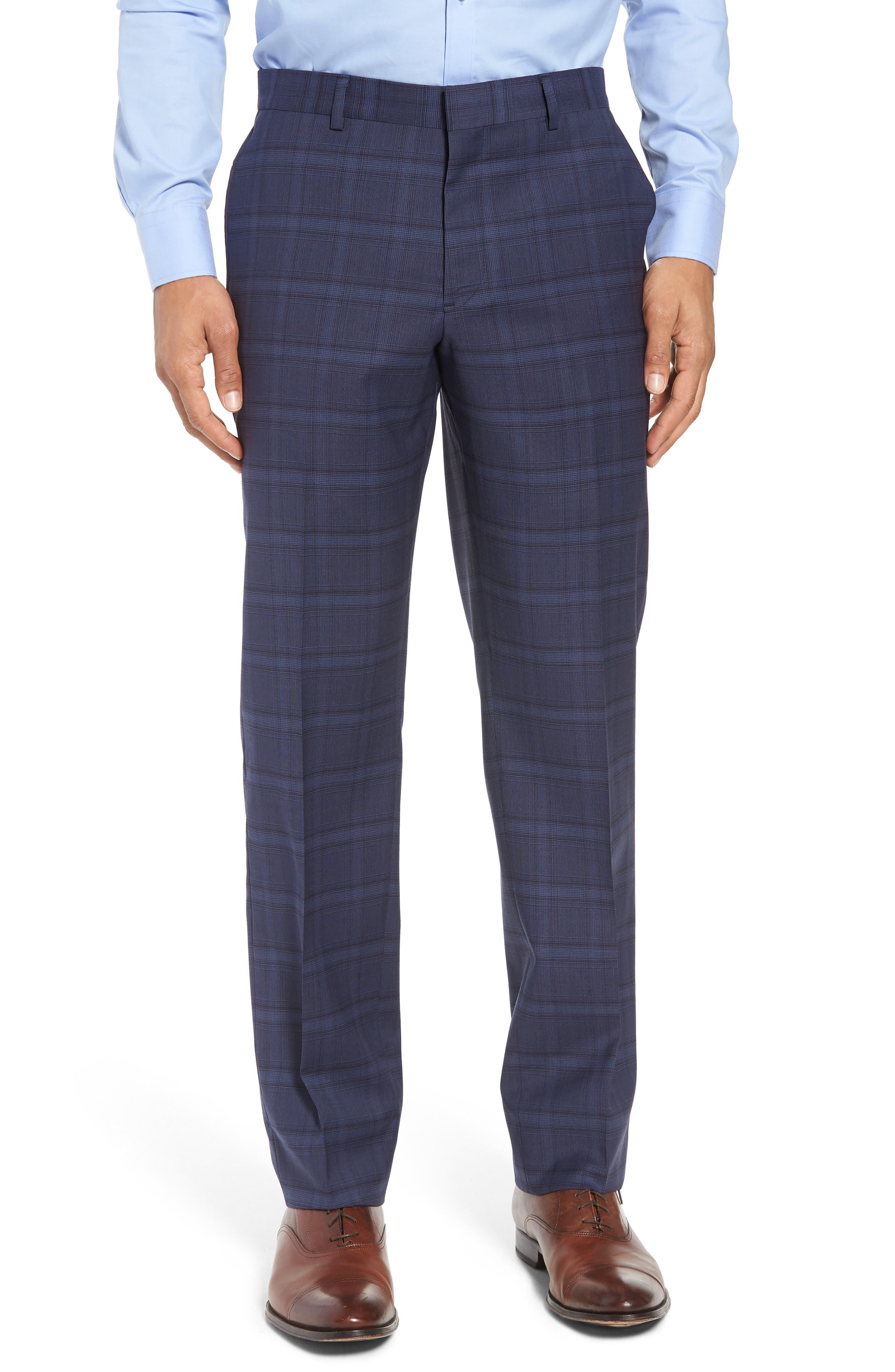 Trim Fit Plaid Stretch Wool Travel Suit,                             Alternate thumbnail 6, color,                             Navy