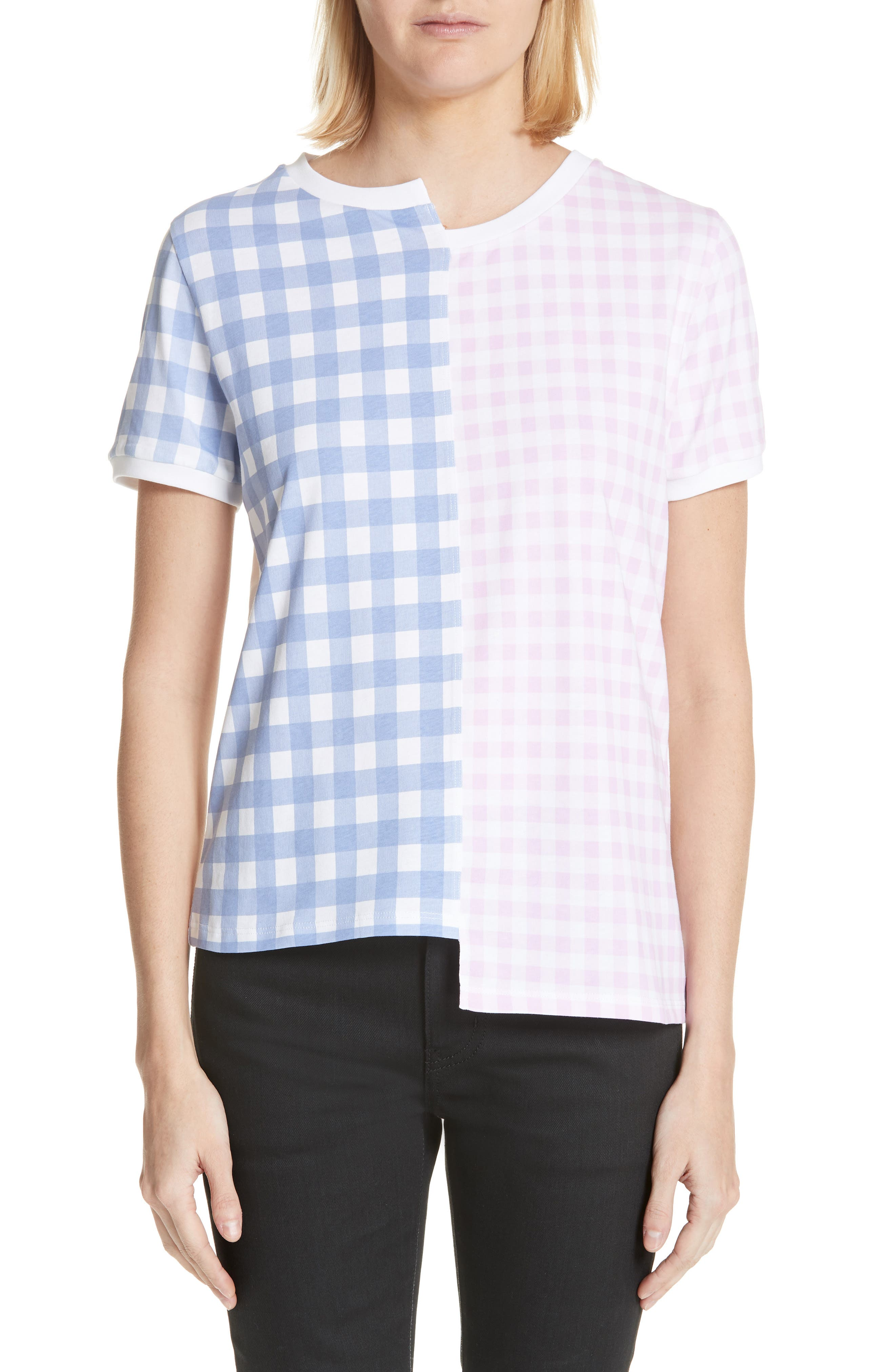Gingham Patchwork Logo Tee,                         Main,                         color, Pink/ Blue