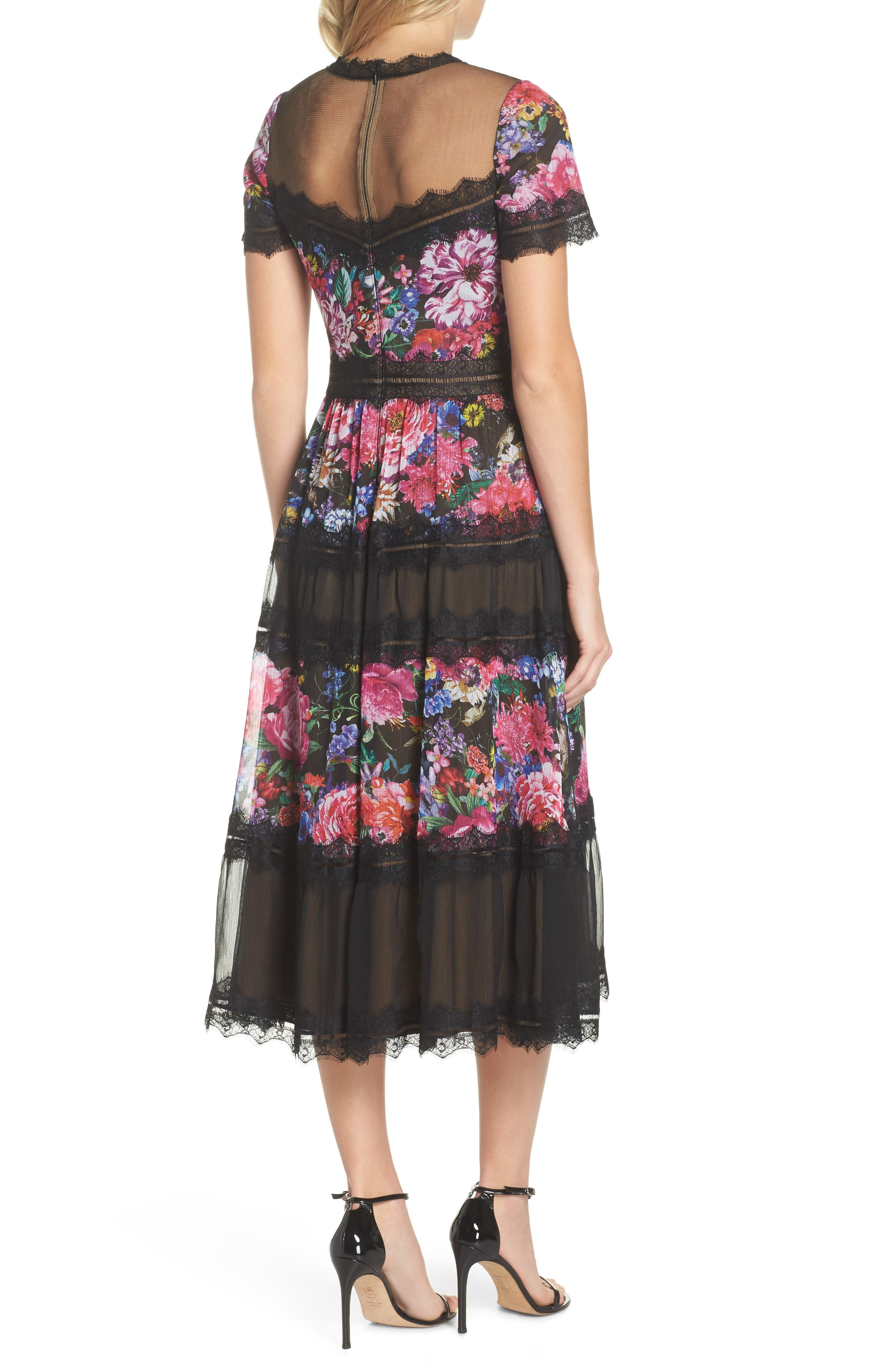 Lace Floral Midi Dress,                             Alternate thumbnail 2, color,                             Black/ Floral