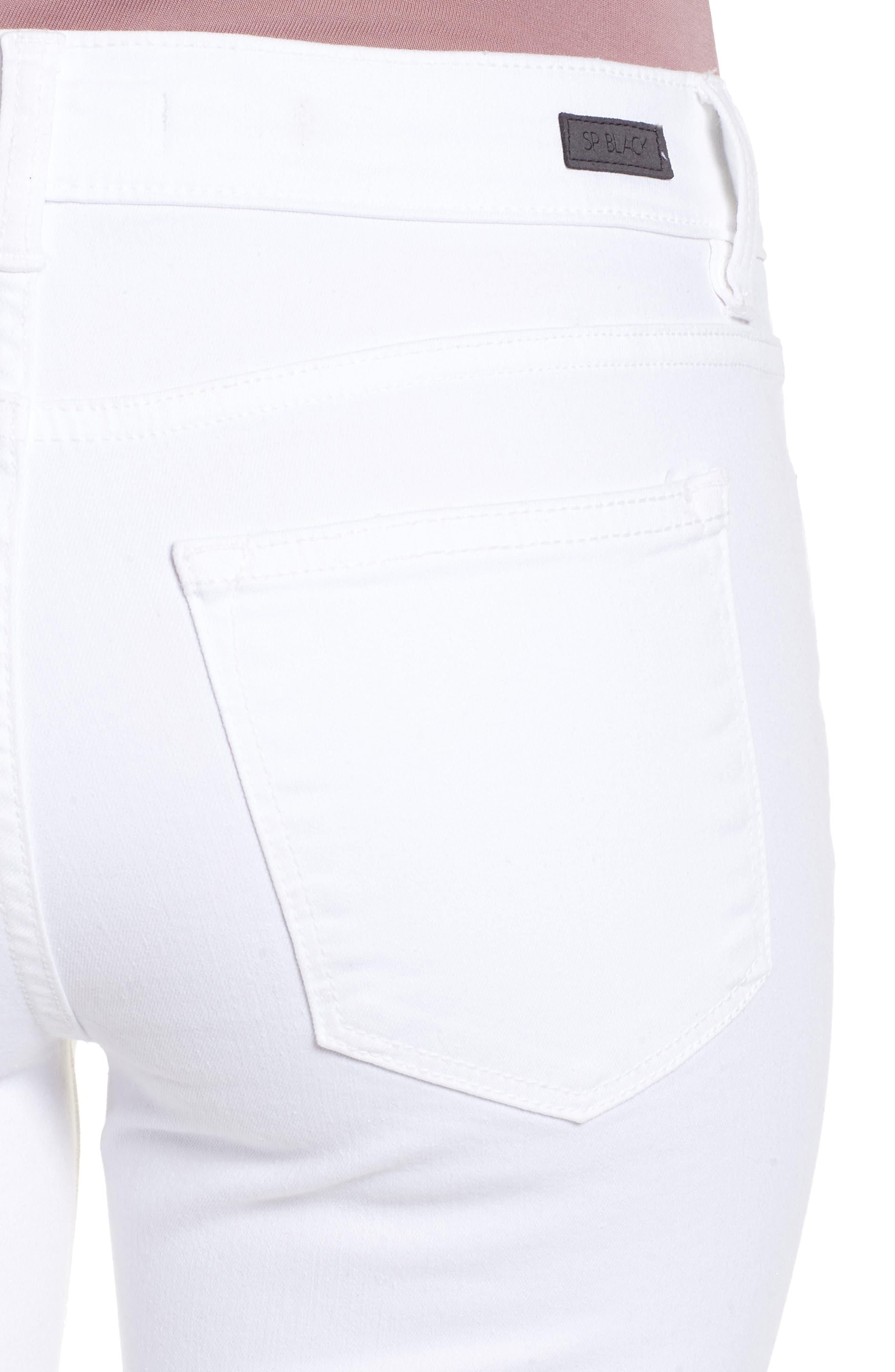 Open Knee Skinny Jeans,                             Alternate thumbnail 4, color,                             White