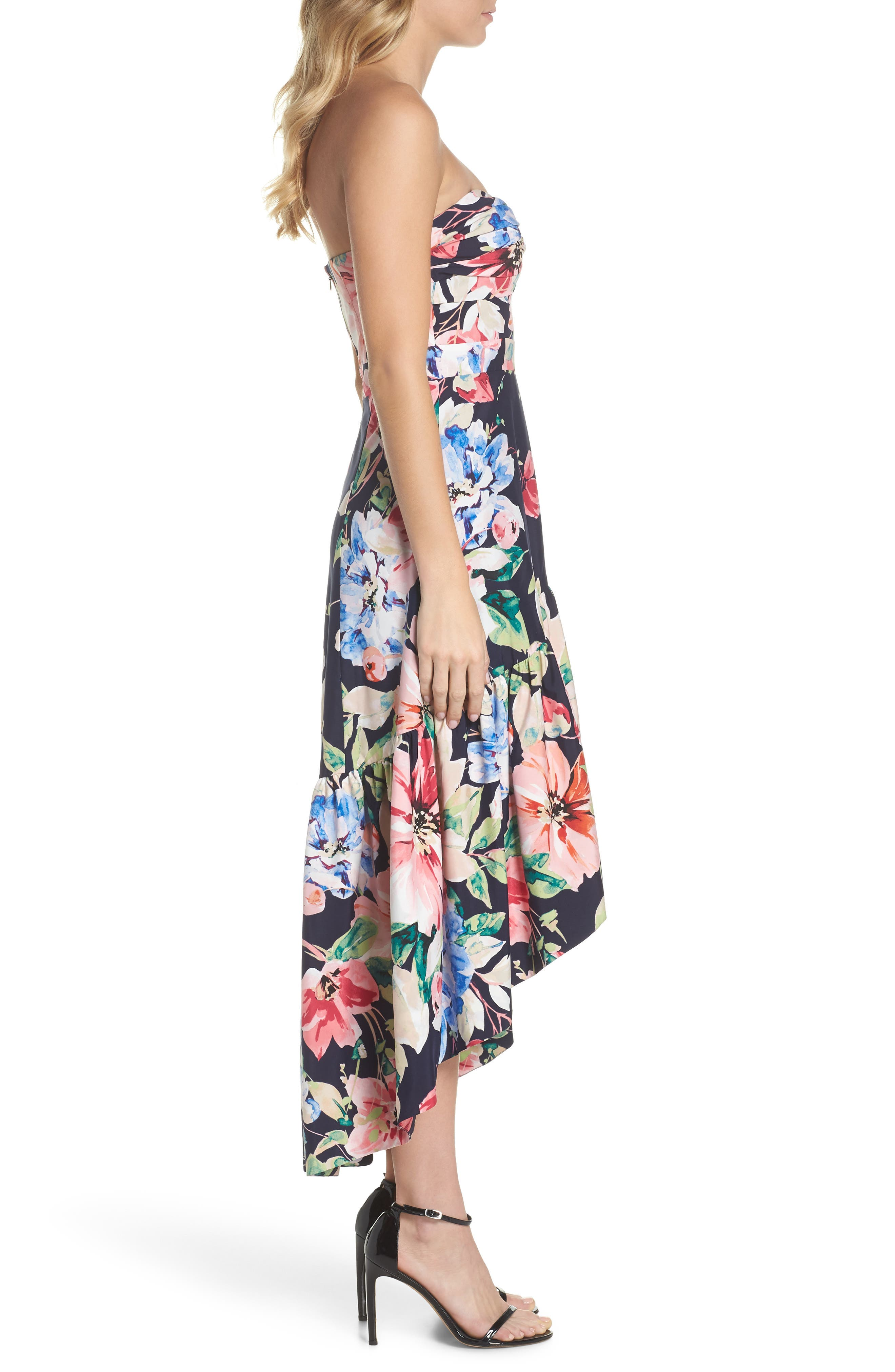 Strapless High/Low Dress,                             Alternate thumbnail 3, color,                             Navy/ Red