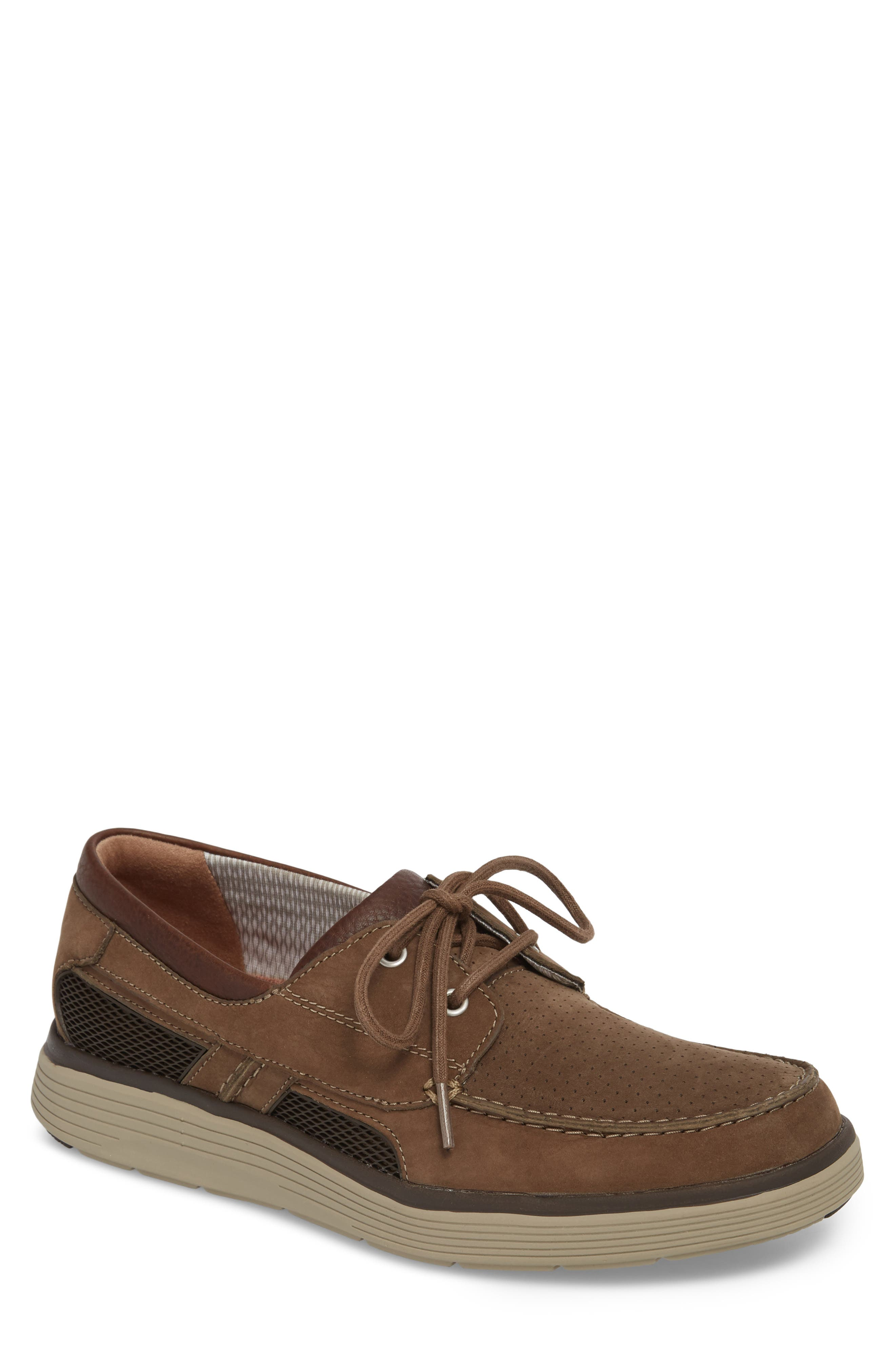 Clarks<sup>®</sup> Unabobe Step Boat Shoe,                             Main thumbnail 1, color,                             Olive Nubuck