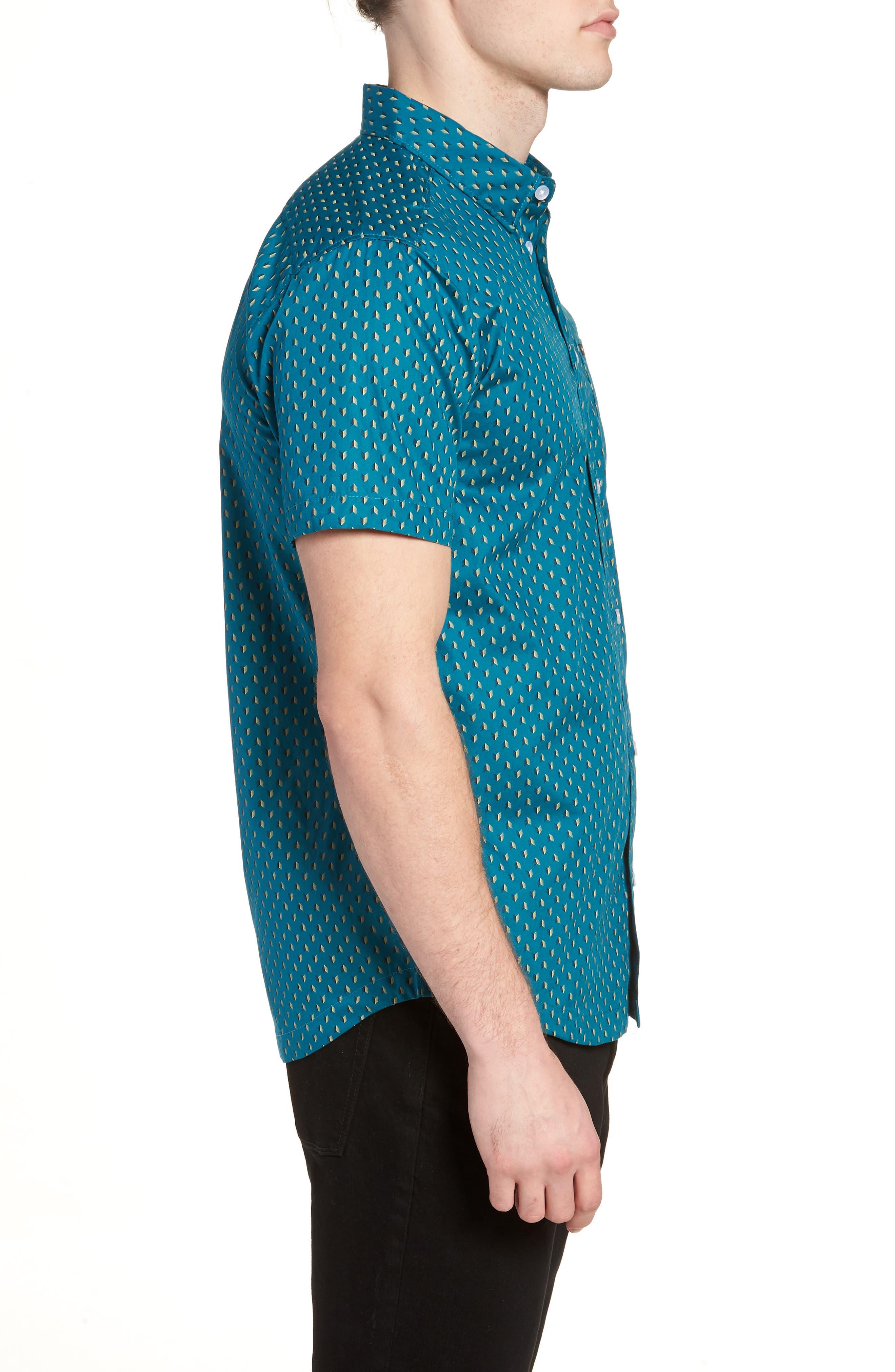 Arrowed Woven Shirt,                             Alternate thumbnail 4, color,                             Blue Tide