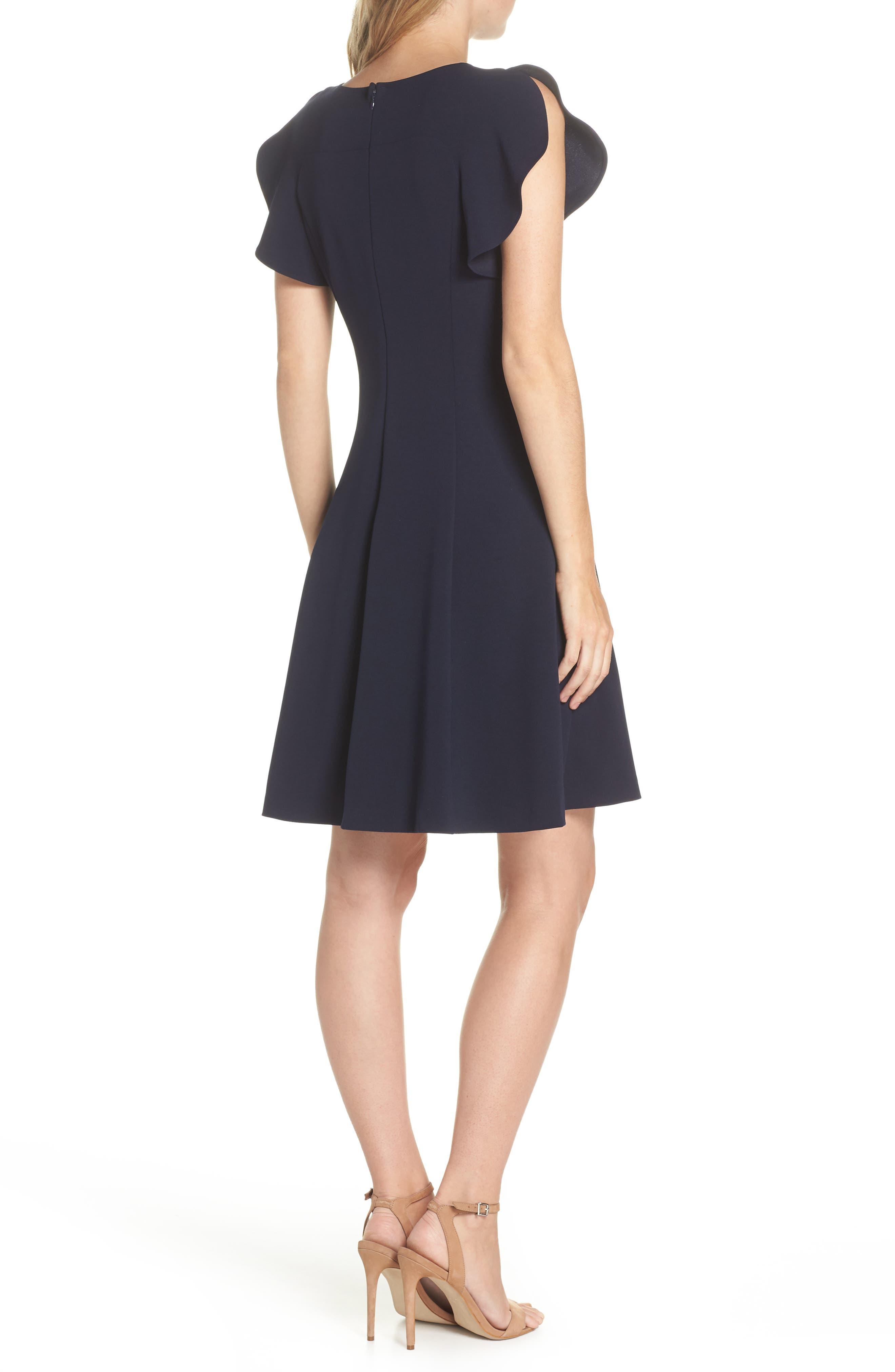 Cap Sleeve Scuba Crepe Fit & Flare Dress,                             Alternate thumbnail 2, color,                             Navy
