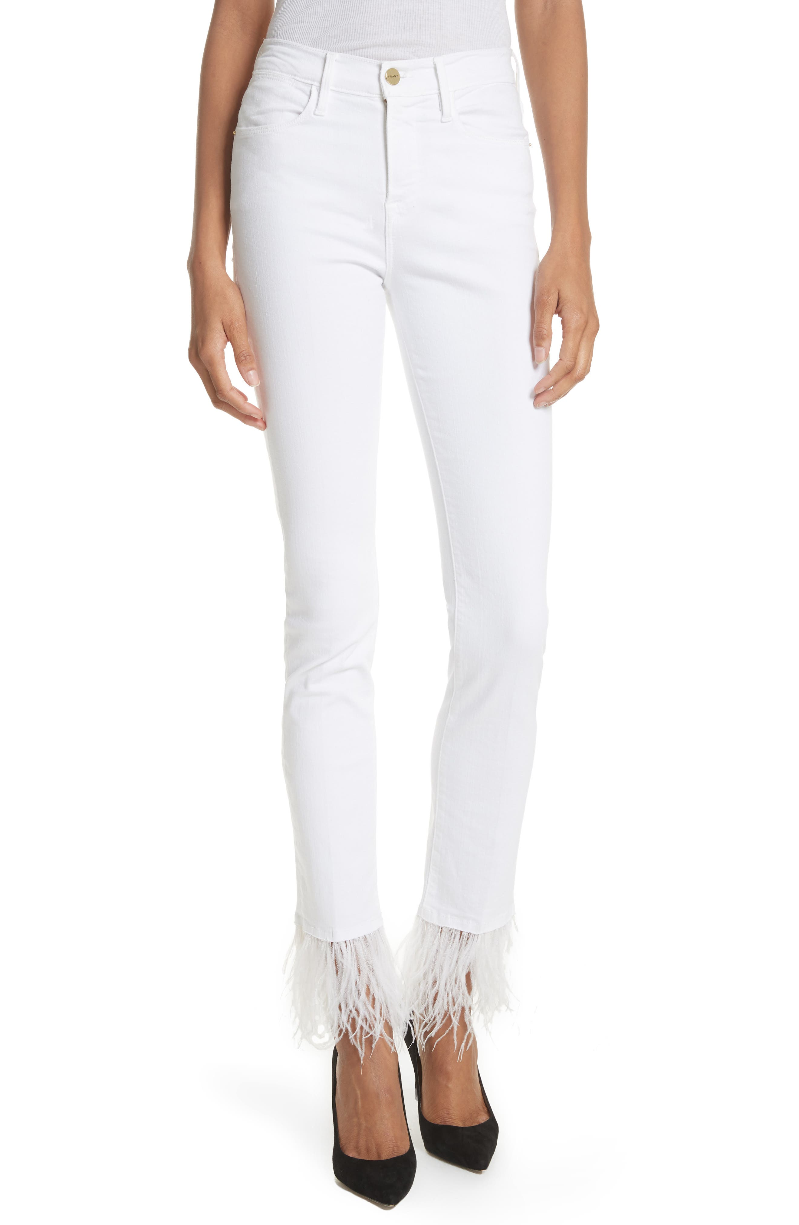 Le High Straight Feather Hem Jeans,                             Main thumbnail 1, color,                             Blanc