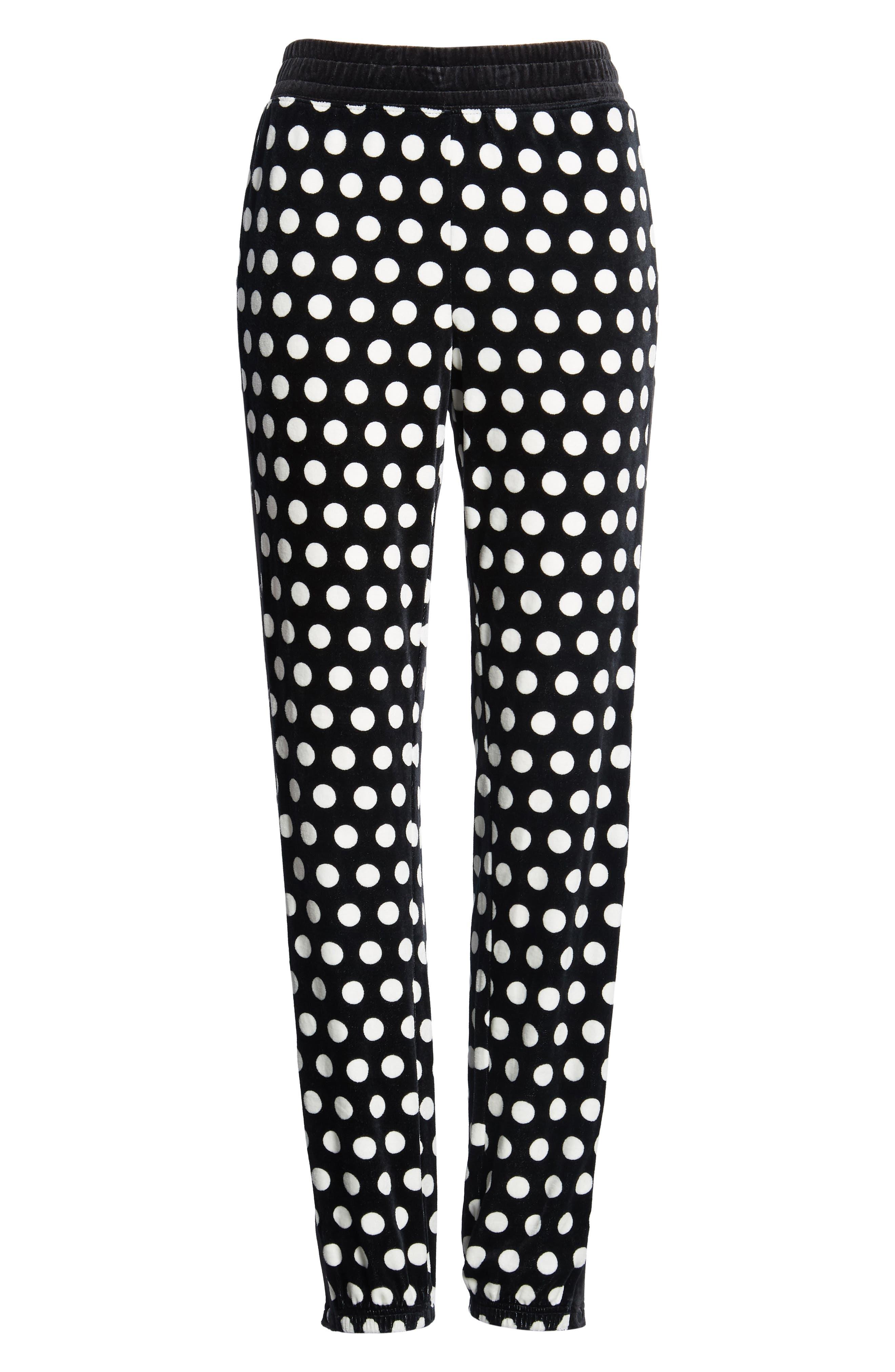Polka Dot Velour Track Pants,                             Alternate thumbnail 7, color,                             Pitch Black St. Germain Dot