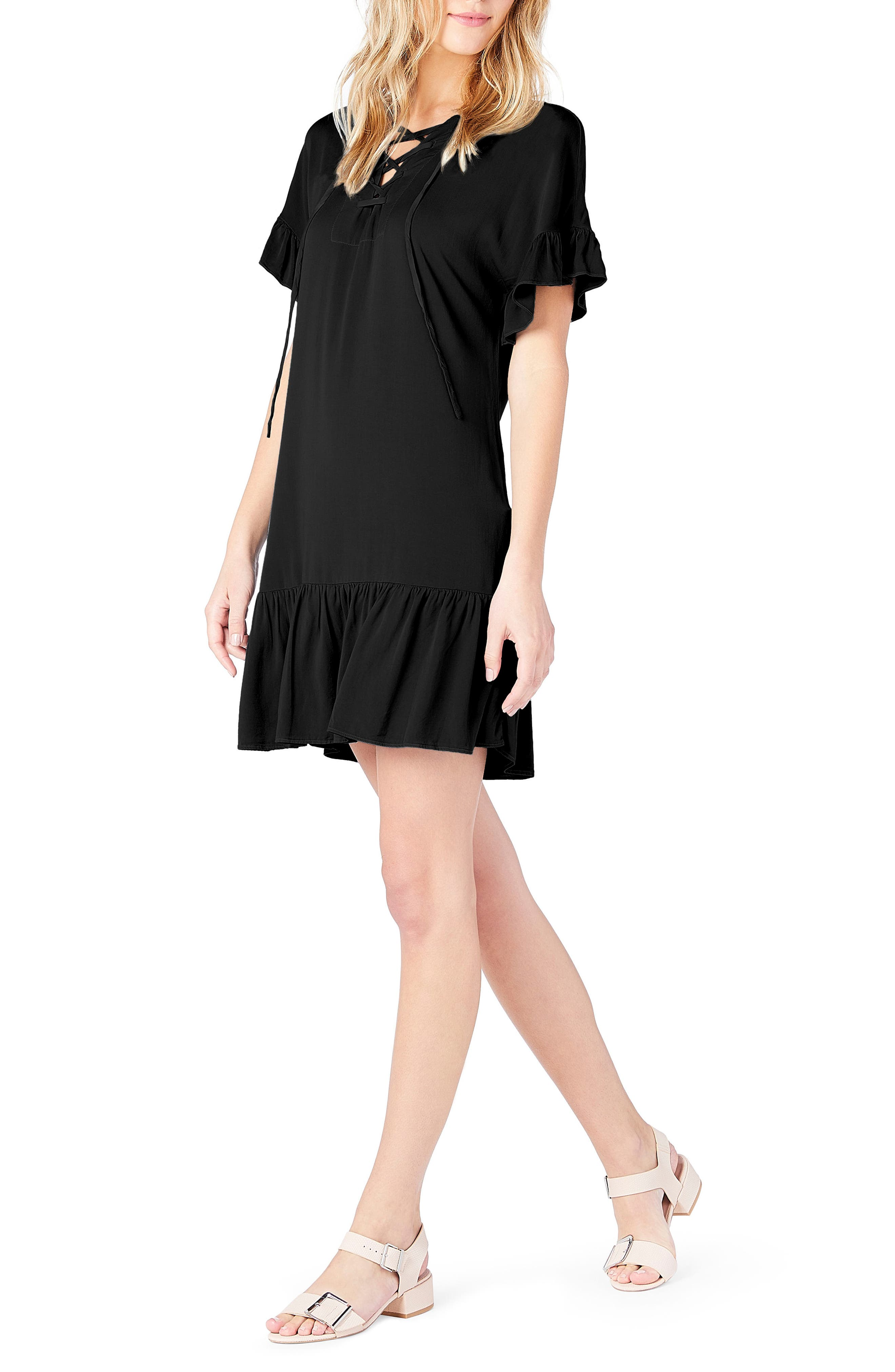 Ruffled Lace-Up Dresss,                             Alternate thumbnail 3, color,                             Black