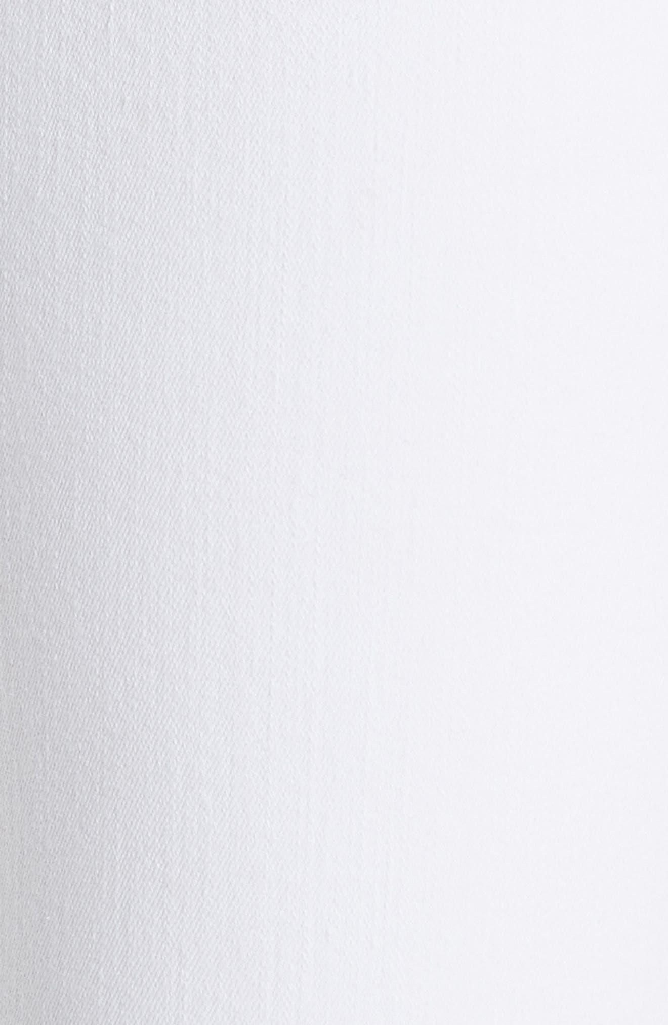Le High Straight Feather Hem Jeans,                             Alternate thumbnail 5, color,                             Blanc