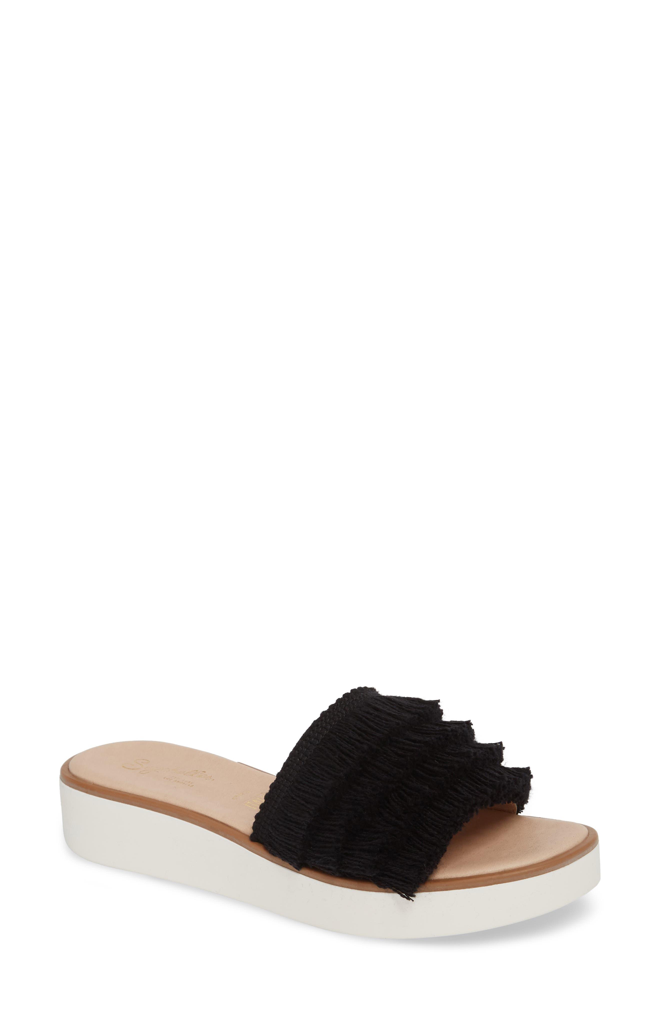 Well Rested Ruffle Slide Sandal,                             Main thumbnail 1, color,                             Black Fabric