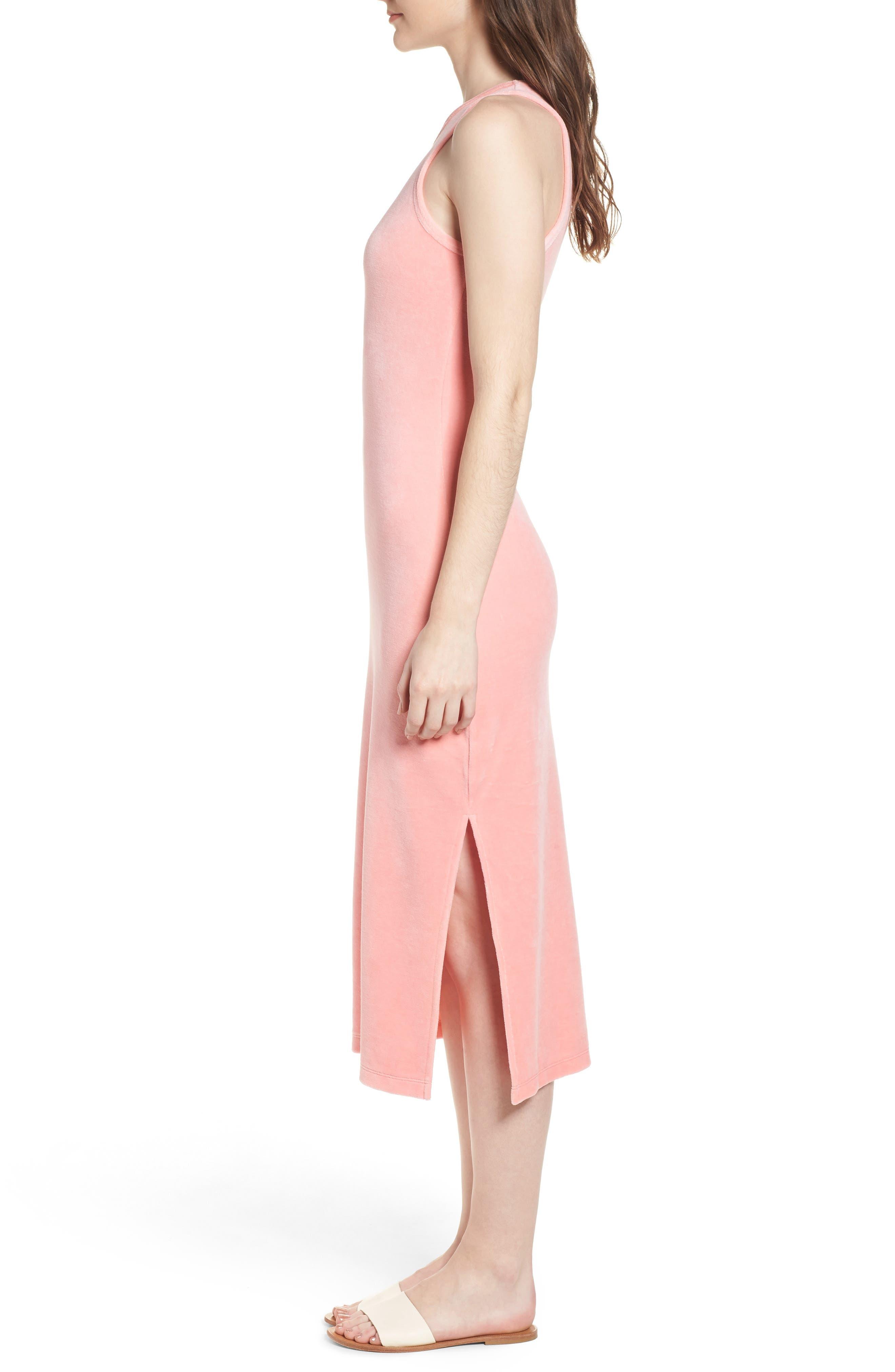 Stretch Velour Tank Midi Dress,                             Alternate thumbnail 3, color,                             Sorbet Pink