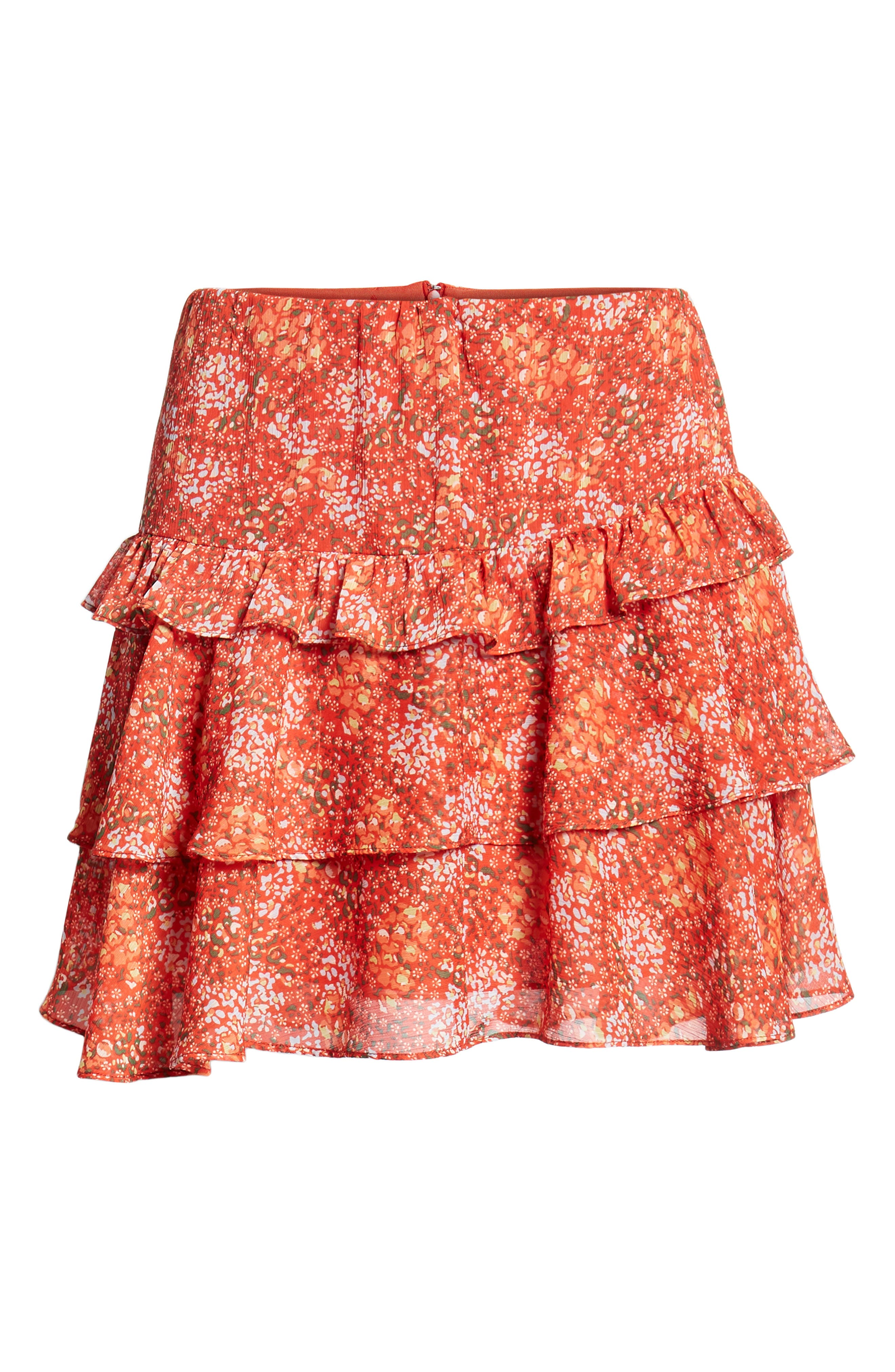 Phoebe Floral Tiered Miniskirt,                             Alternate thumbnail 6, color,                             Red Multi