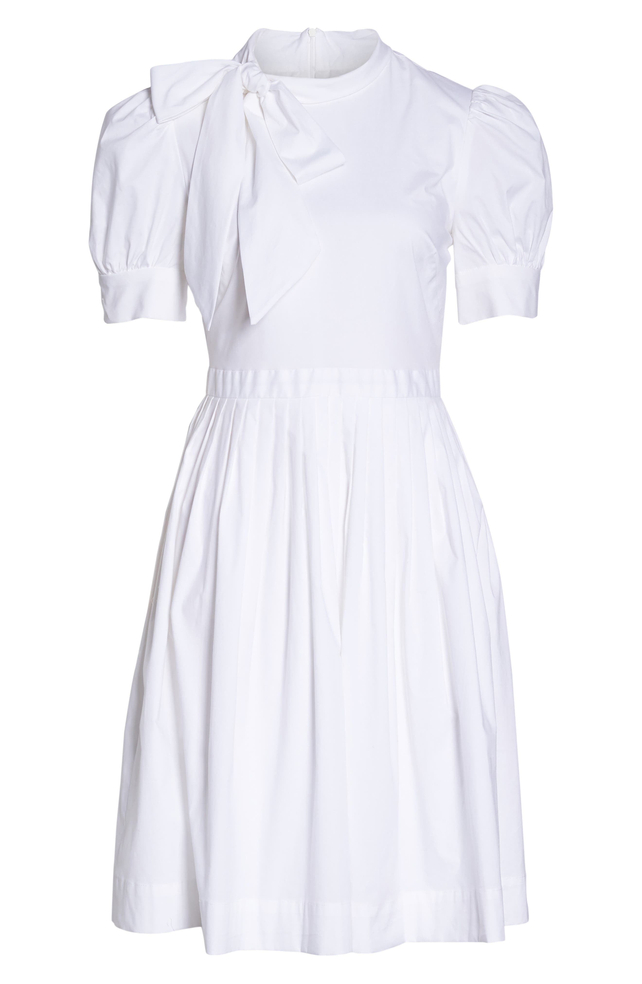 Hanna Puff Sleeve Cotton Poplin Dress,                             Alternate thumbnail 8, color,                             White