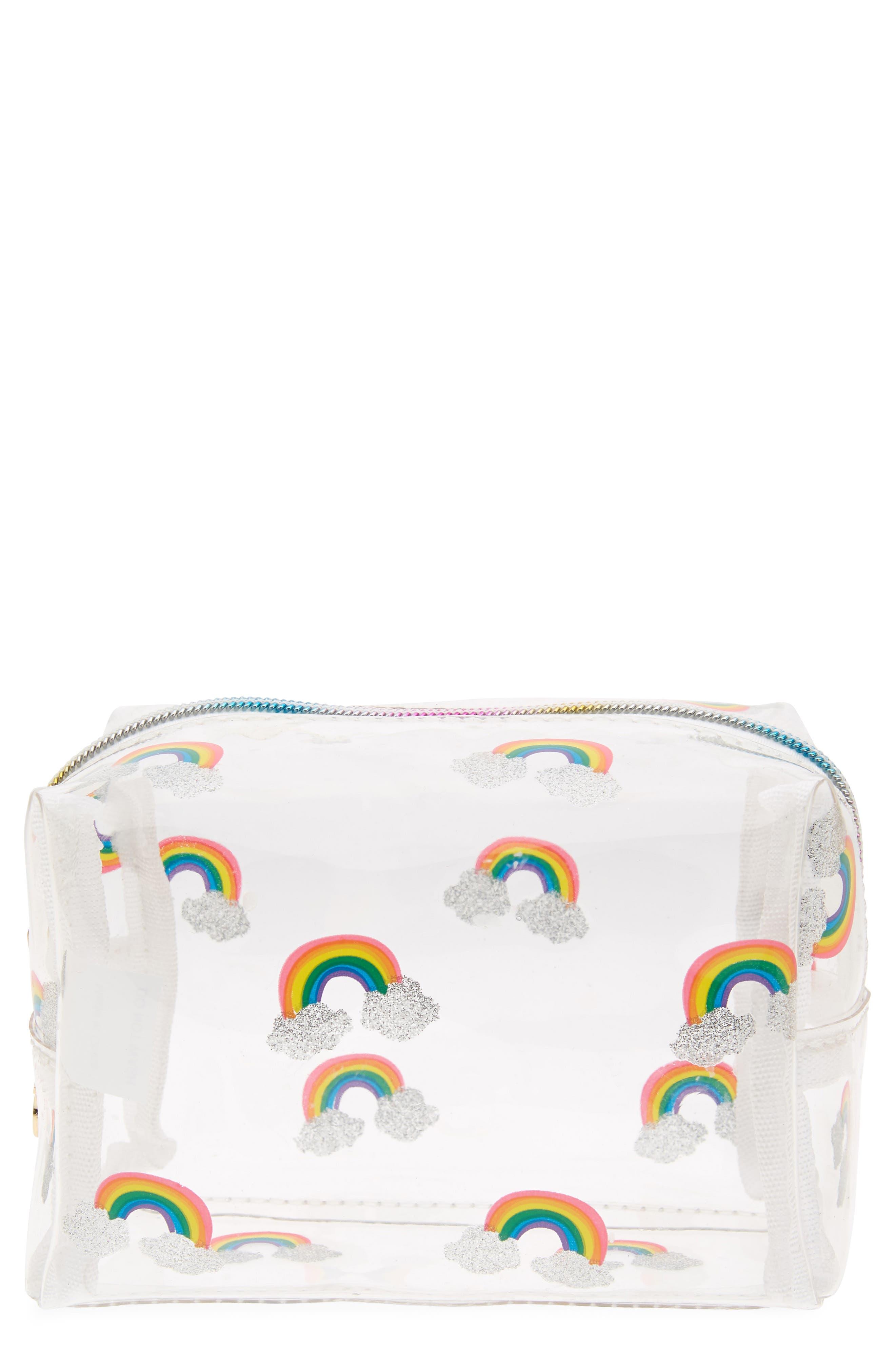 Rainbow Cosmetics Bag,                             Main thumbnail 1, color,                             Multi