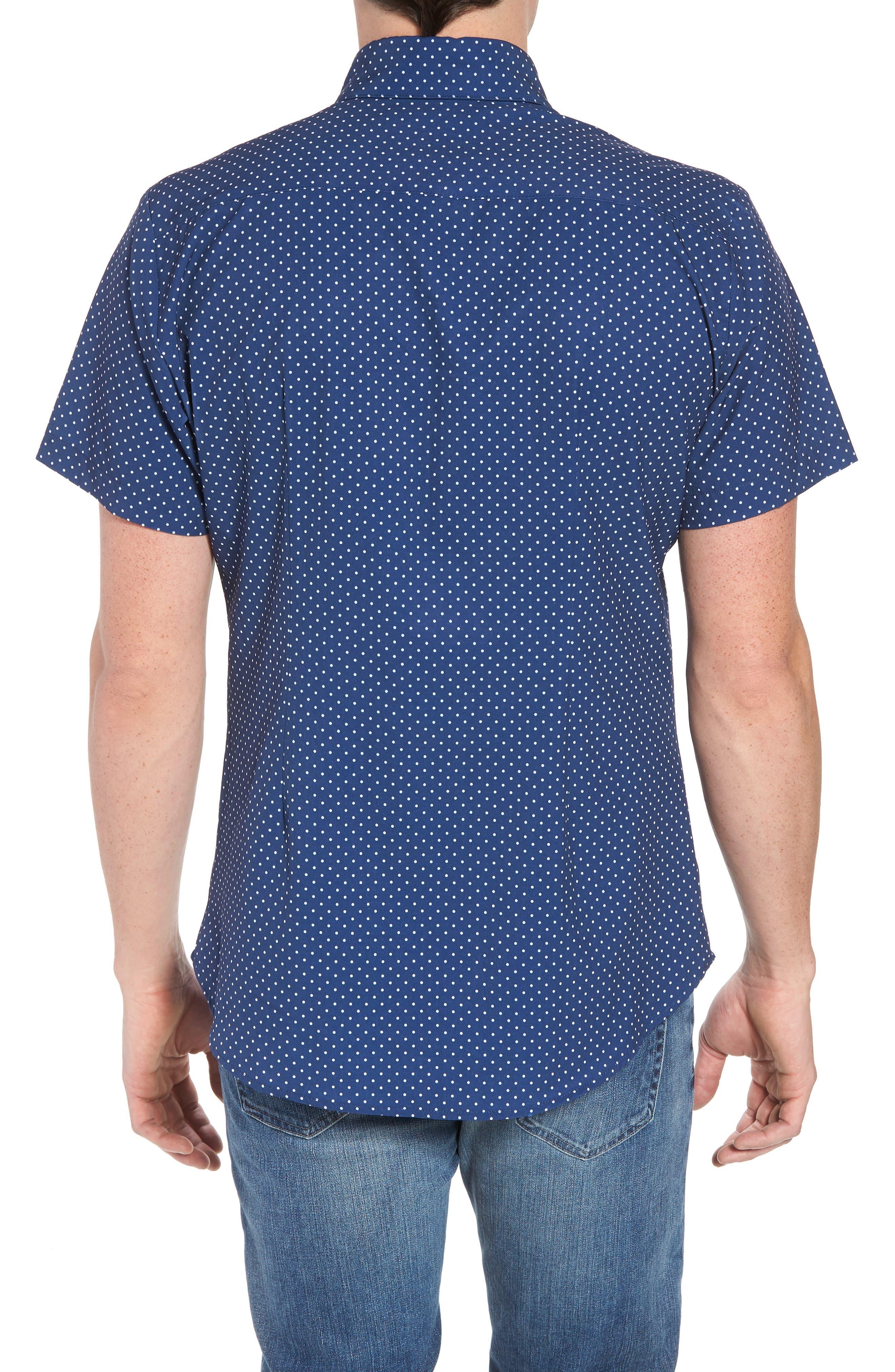 Crosby Slim Fit Dot Performance Sport Shirt,                             Alternate thumbnail 3, color,                             Navy