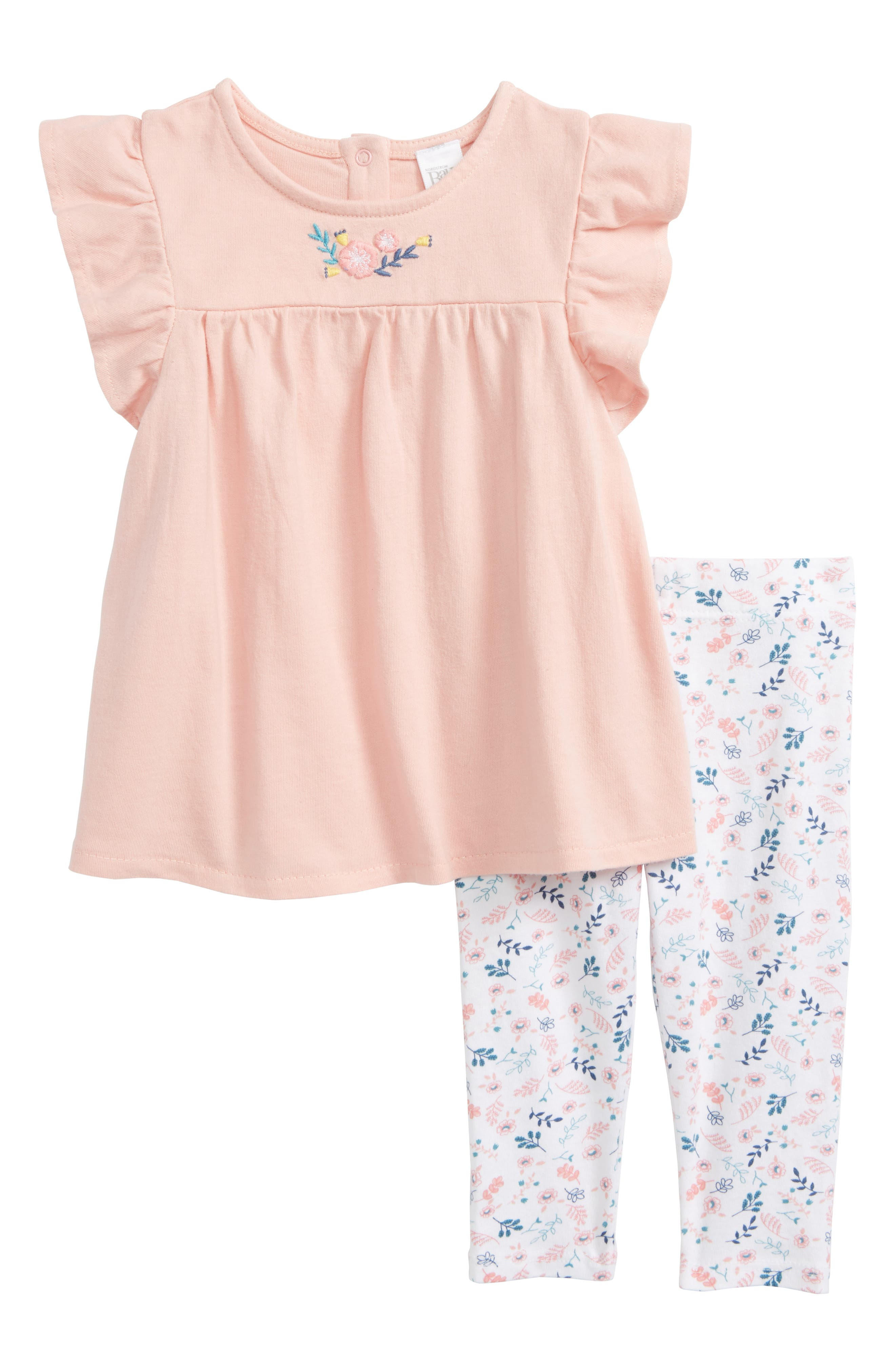 Embroidered Tunic & Leggings Set,                         Main,                         color, Pink Powder Wild Flowers