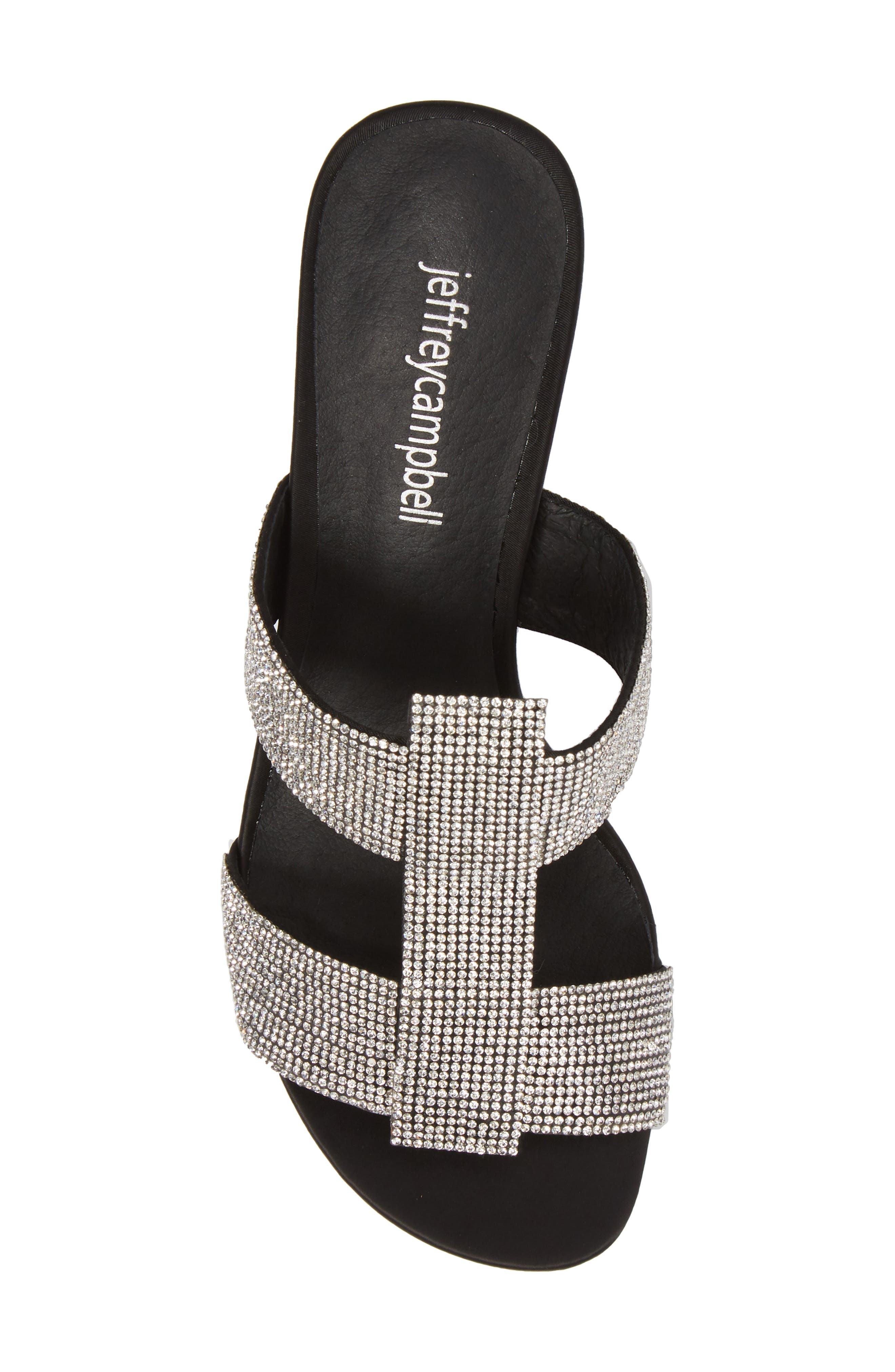 Tartine Embellished Slide Sandal,                             Alternate thumbnail 5, color,                             Black Satin/ Silver