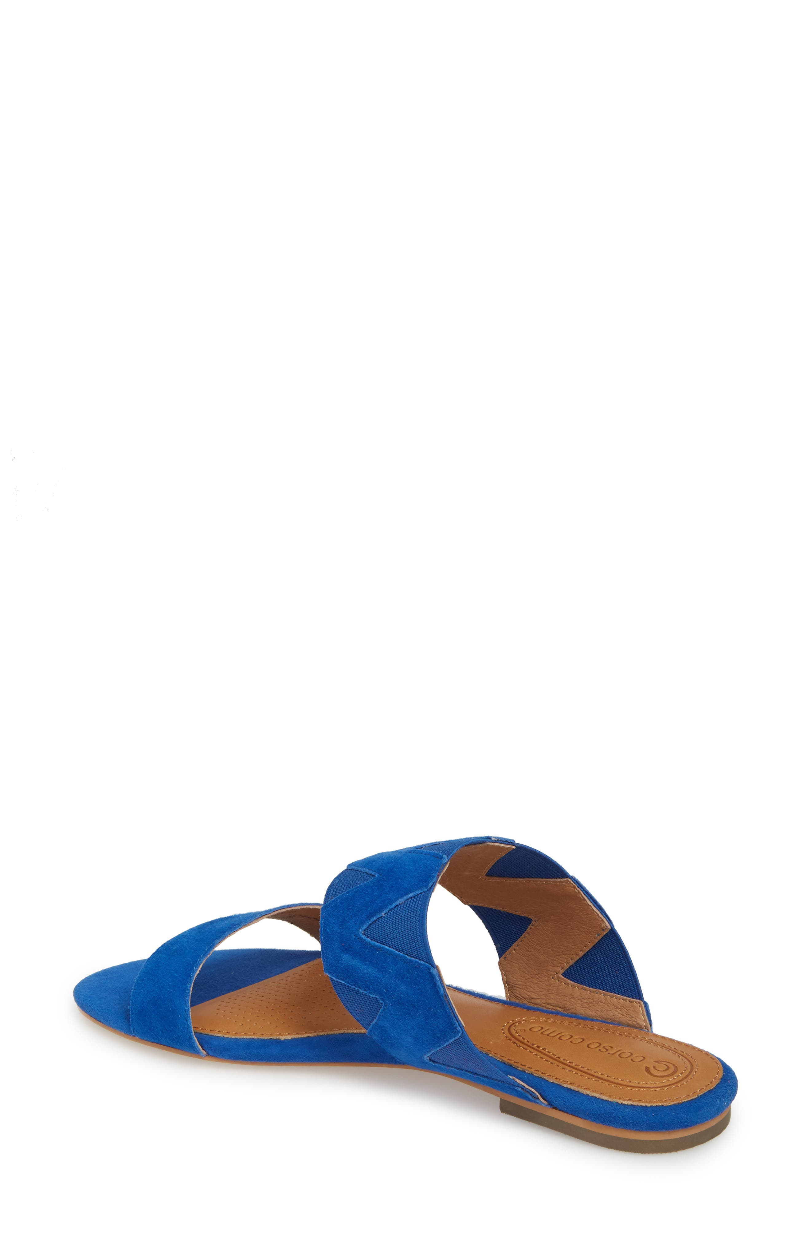 Vickee Double Band Sandal,                             Alternate thumbnail 2, color,                             Royal Blue Leather