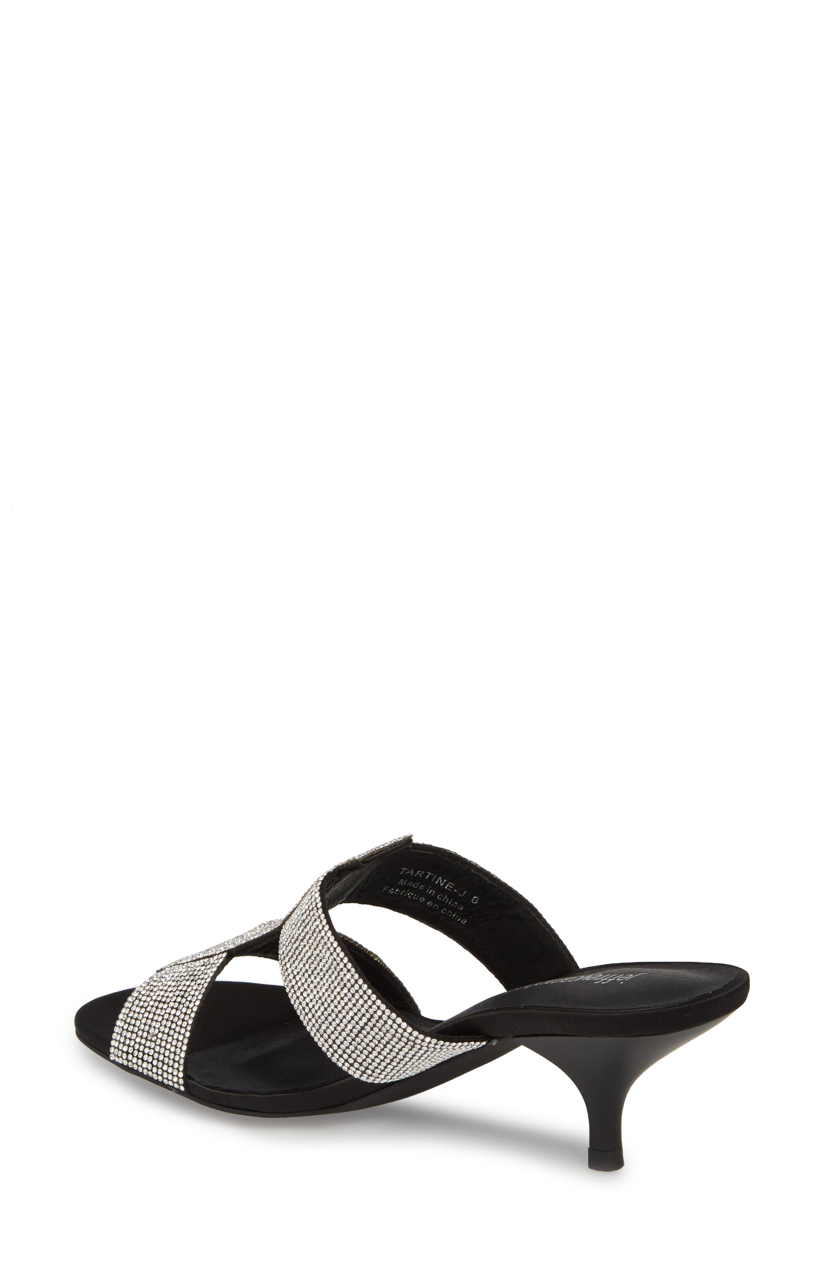 Tartine Embellished Slide Sandal,                             Alternate thumbnail 2, color,                             Black Satin/ Silver