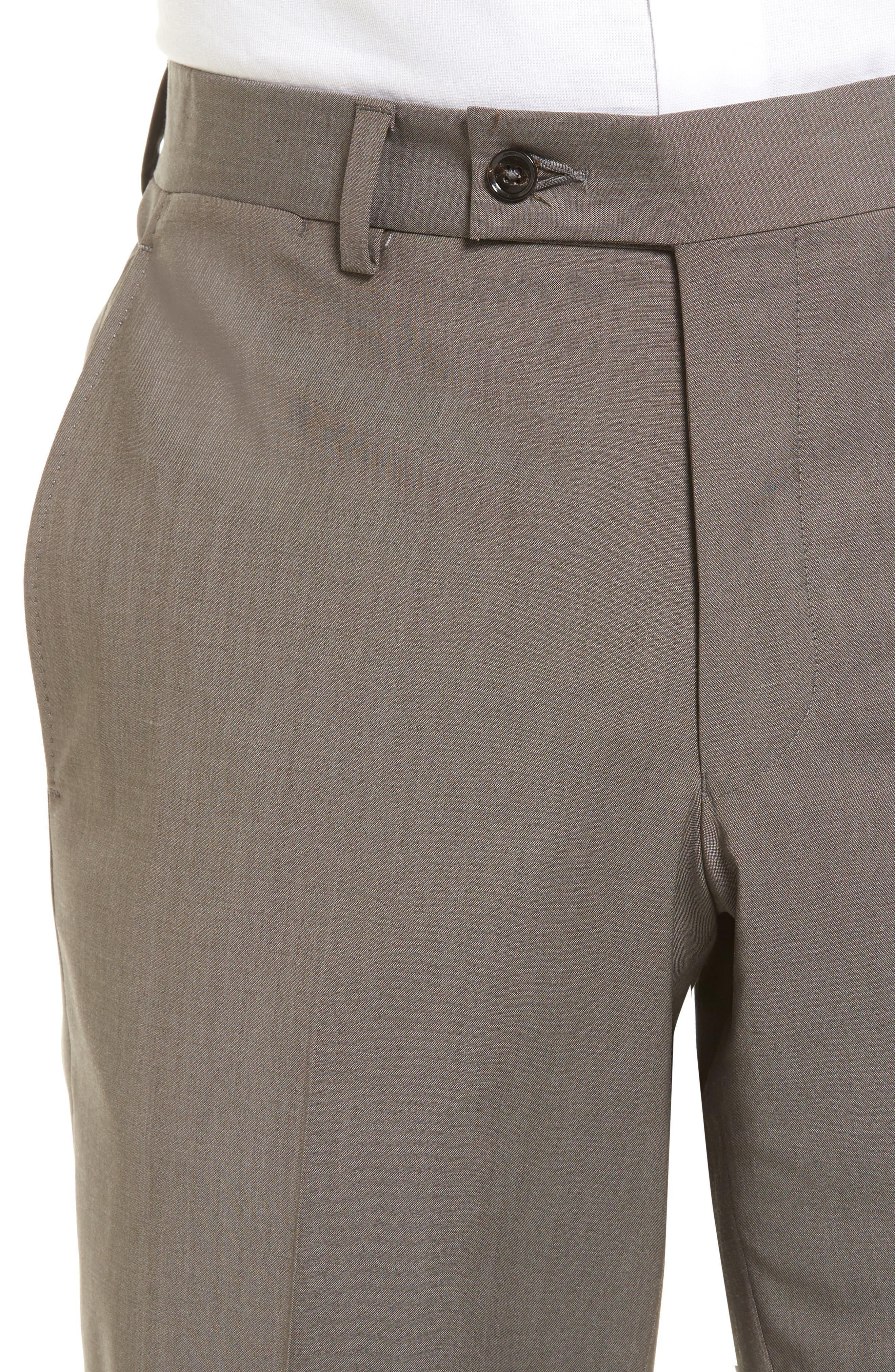 Jefferson Flat Front Stretch Wool Trousers,                             Alternate thumbnail 4, color,                             Grey