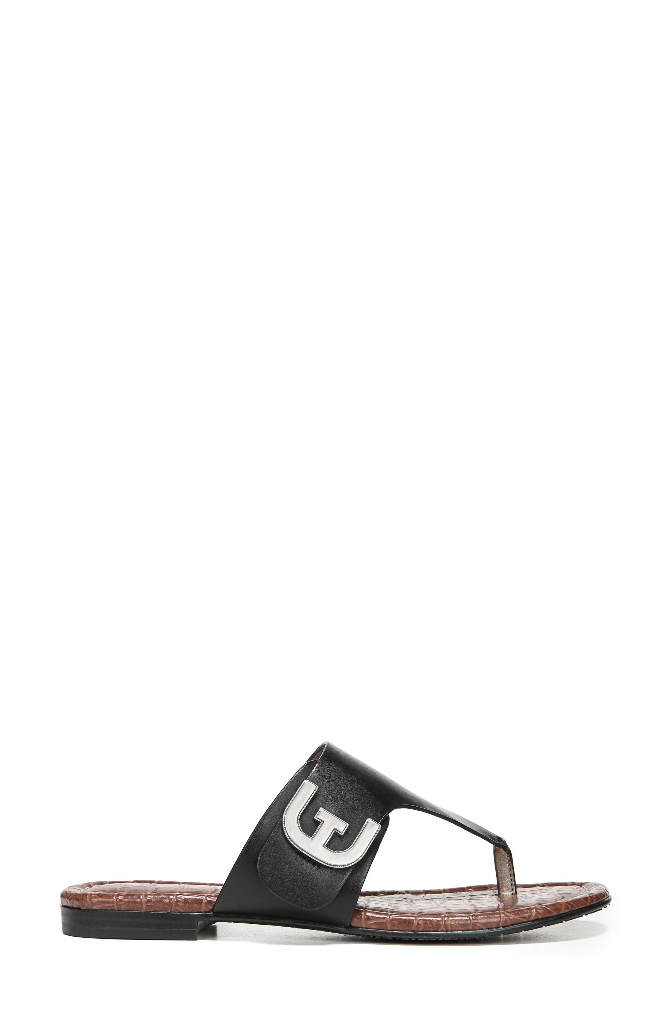Barry V-Strap Thong Sandal,                             Alternate thumbnail 3, color,                             Black Leather