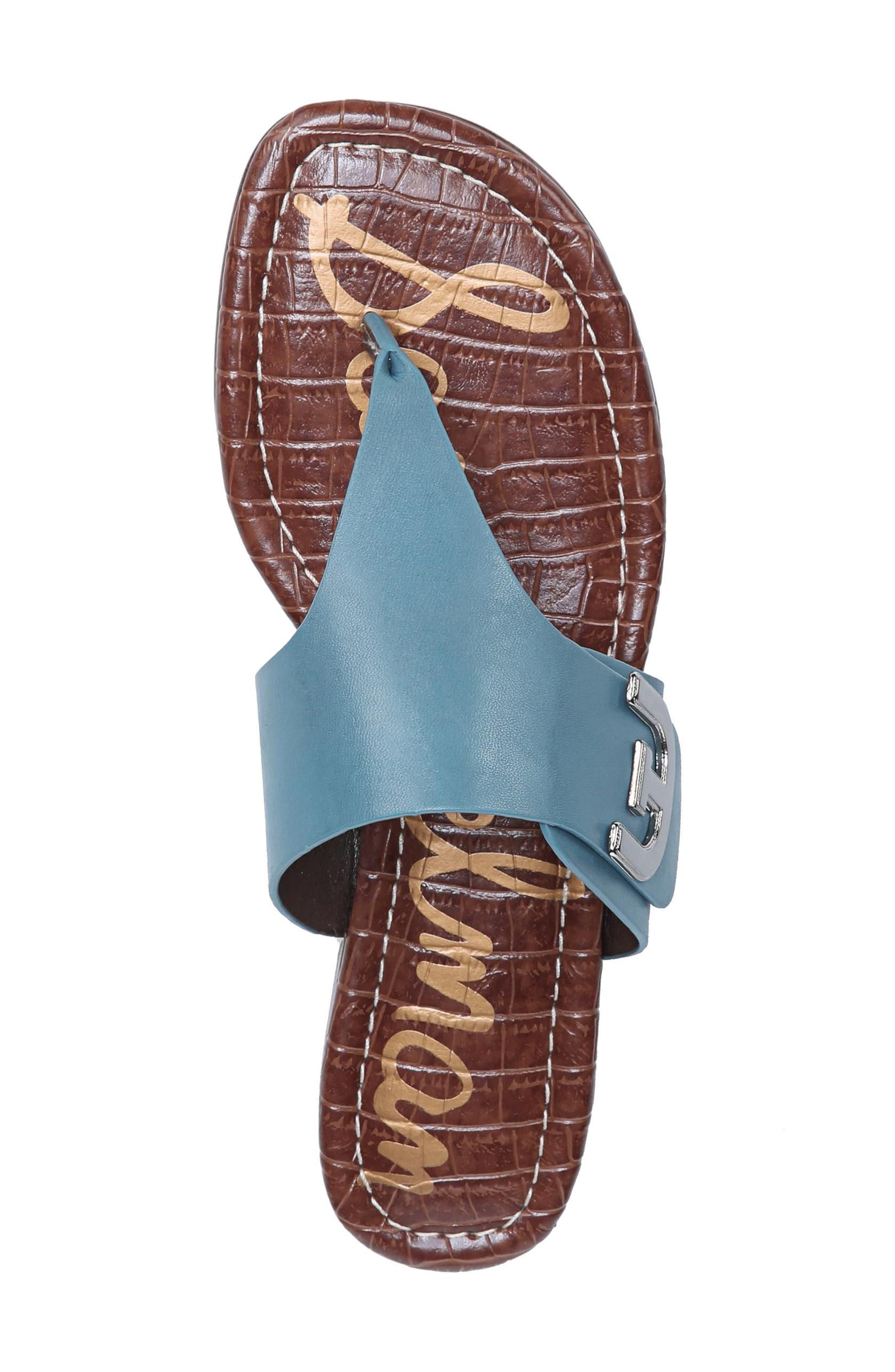Barry V-Strap Thong Sandal,                             Alternate thumbnail 5, color,                             Denim Blue Leather