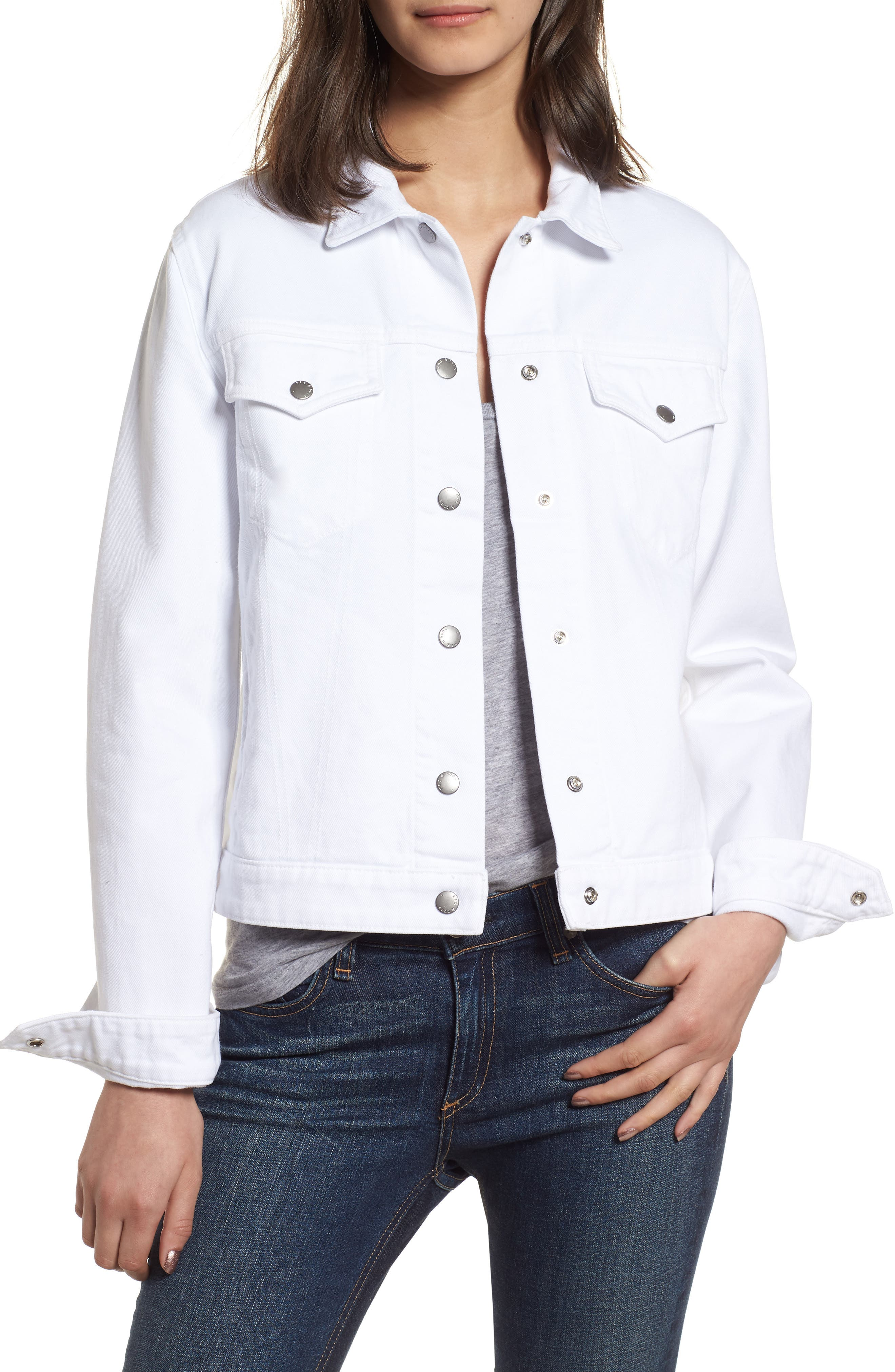 Nico Denim Jacket,                         Main,                         color, White