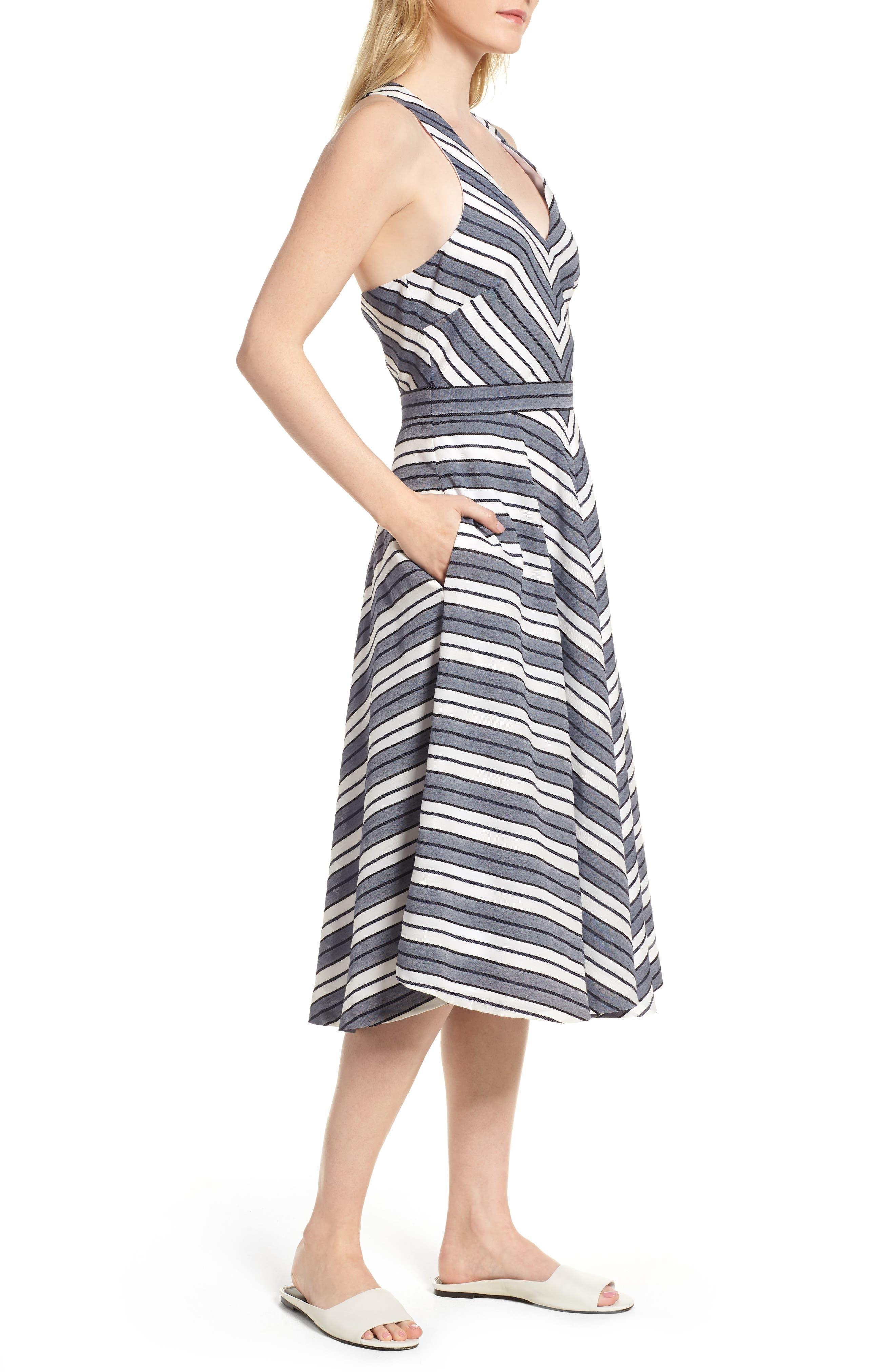 Stripe V-Neck Dress,                             Alternate thumbnail 3, color,                             Navy Stripe