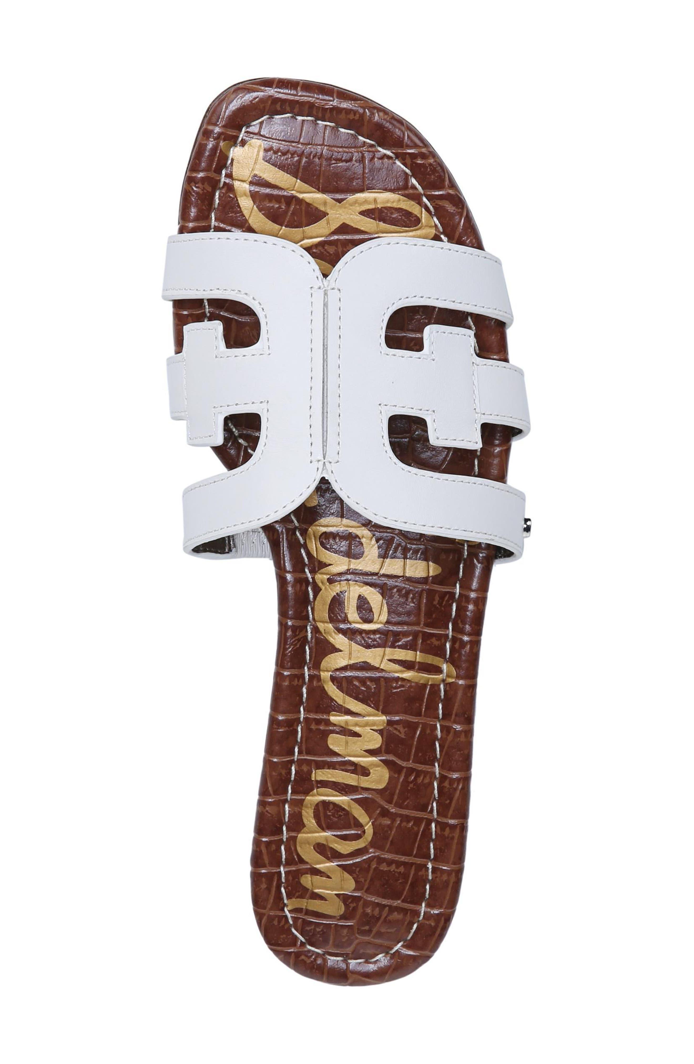 Bay Cutout Slide Sandal,                             Alternate thumbnail 5, color,                             Bright White Leather
