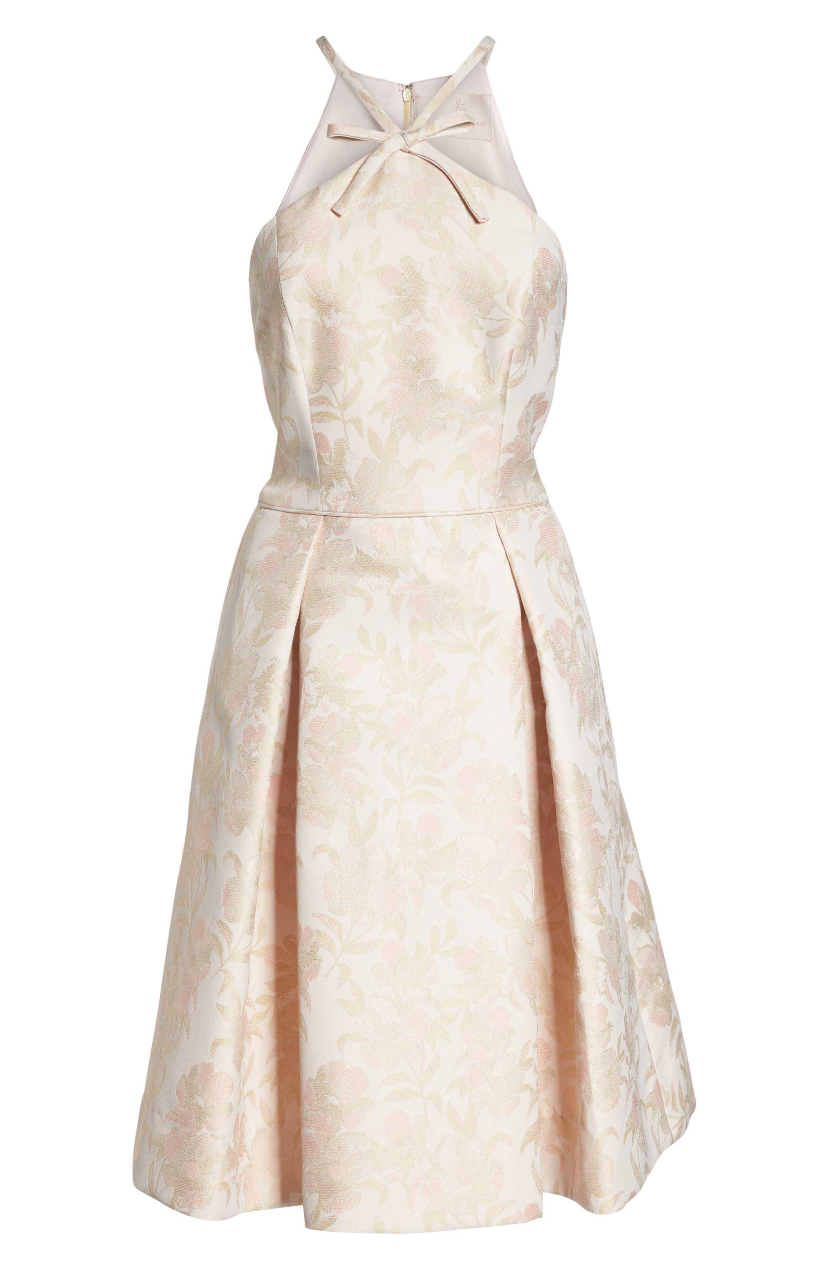 Evelyn Sea Holly Jacquard Halter Dress,                             Alternate thumbnail 8, color,                             Blush Combo