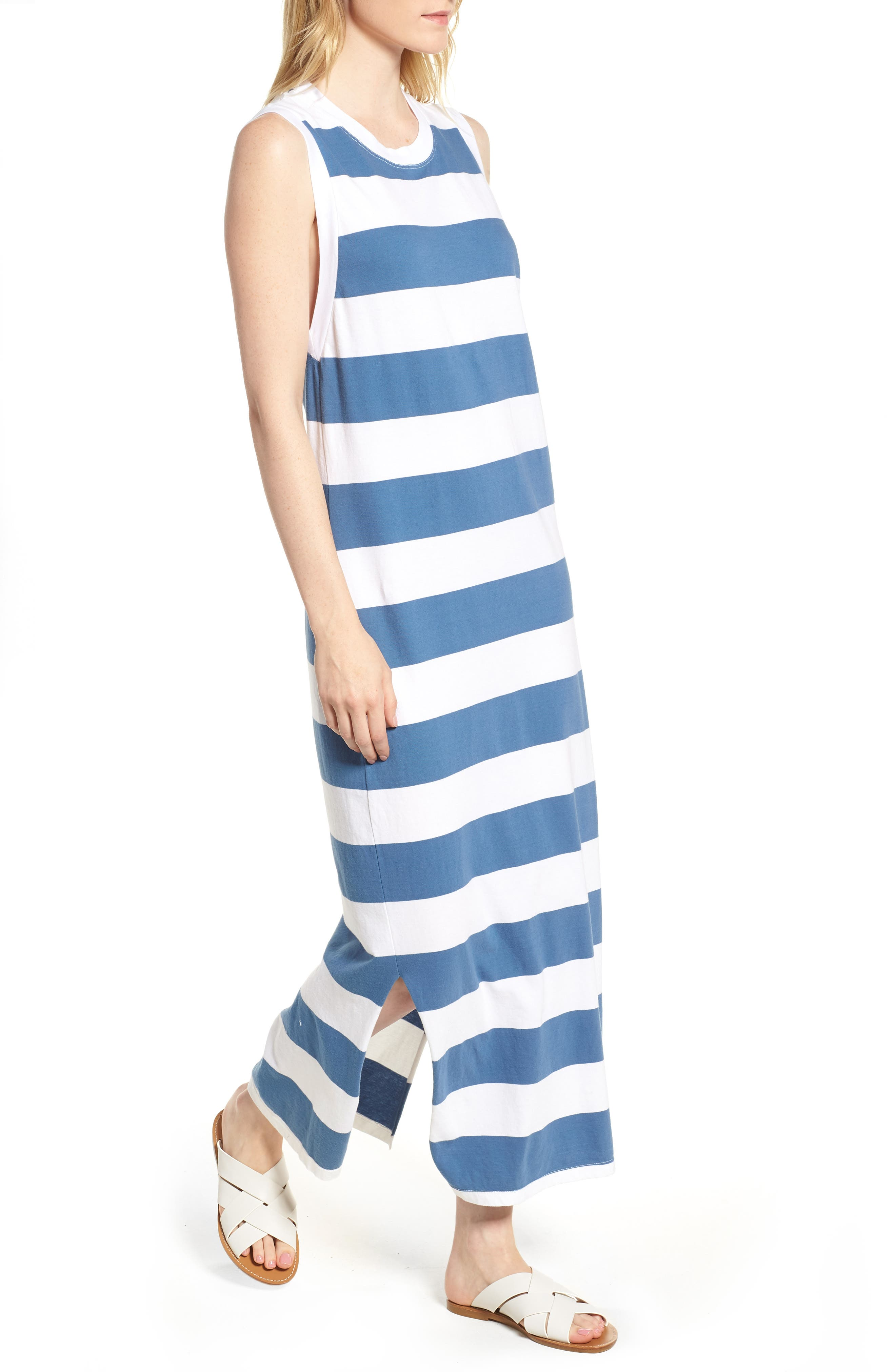 Rugby Stripe Maxi Dress,                         Main,                         color, White/ Blue