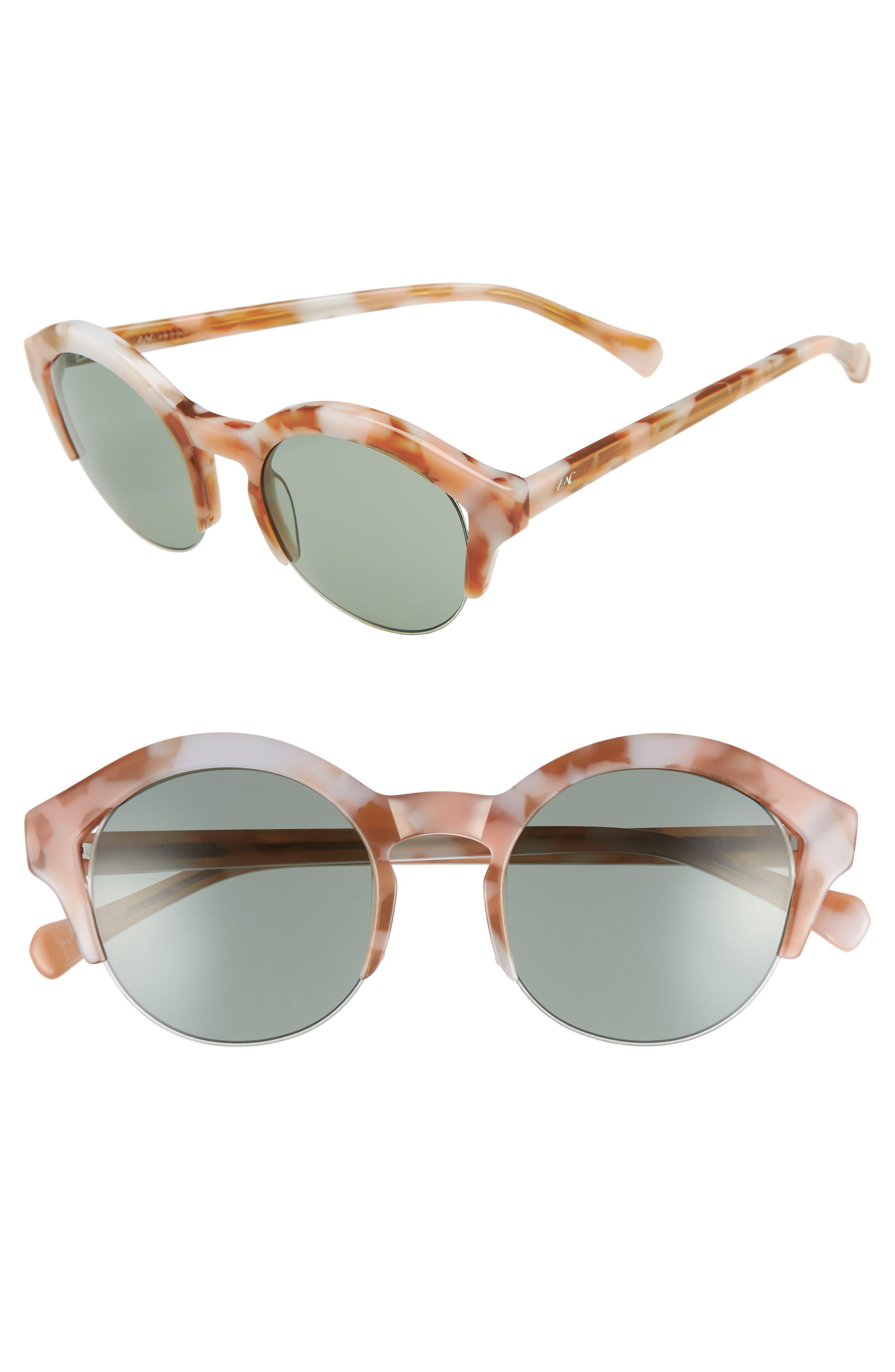 Bren 51mm Half-Rim Sunglasses,                             Main thumbnail 1, color,                             Pink/ Tortoise Green