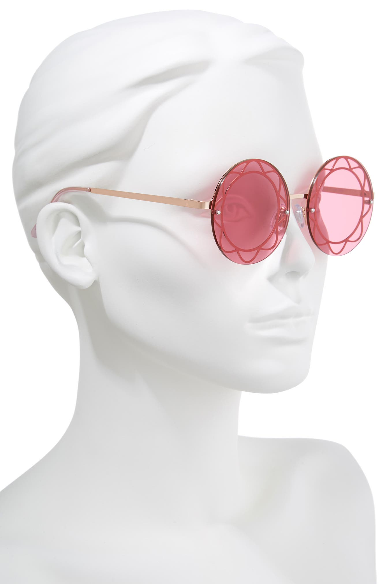 55mm Round Sunglasses,                             Alternate thumbnail 2, color,                             Rose Gold/ Red Lens