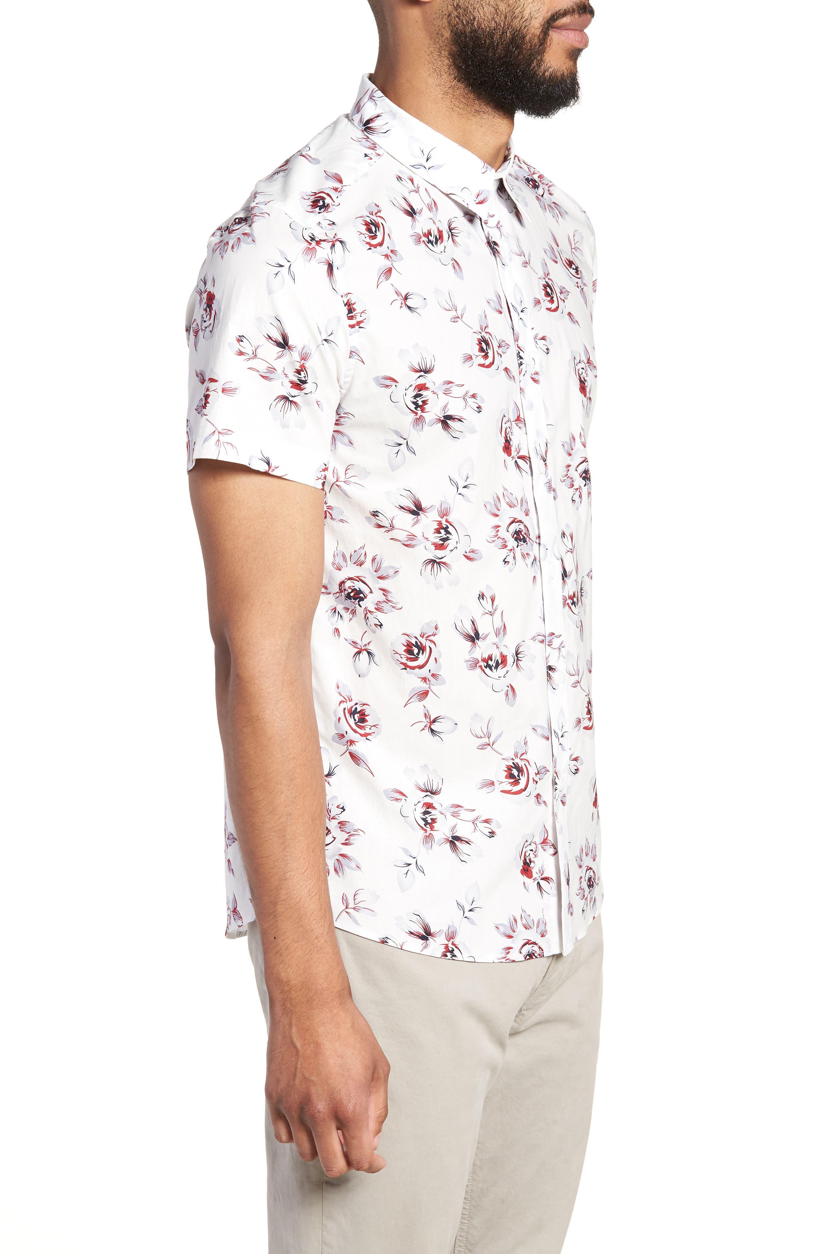 Trim Fit Print Woven Short Sleeve Shirt,                             Alternate thumbnail 3, color,                             White Red Rose