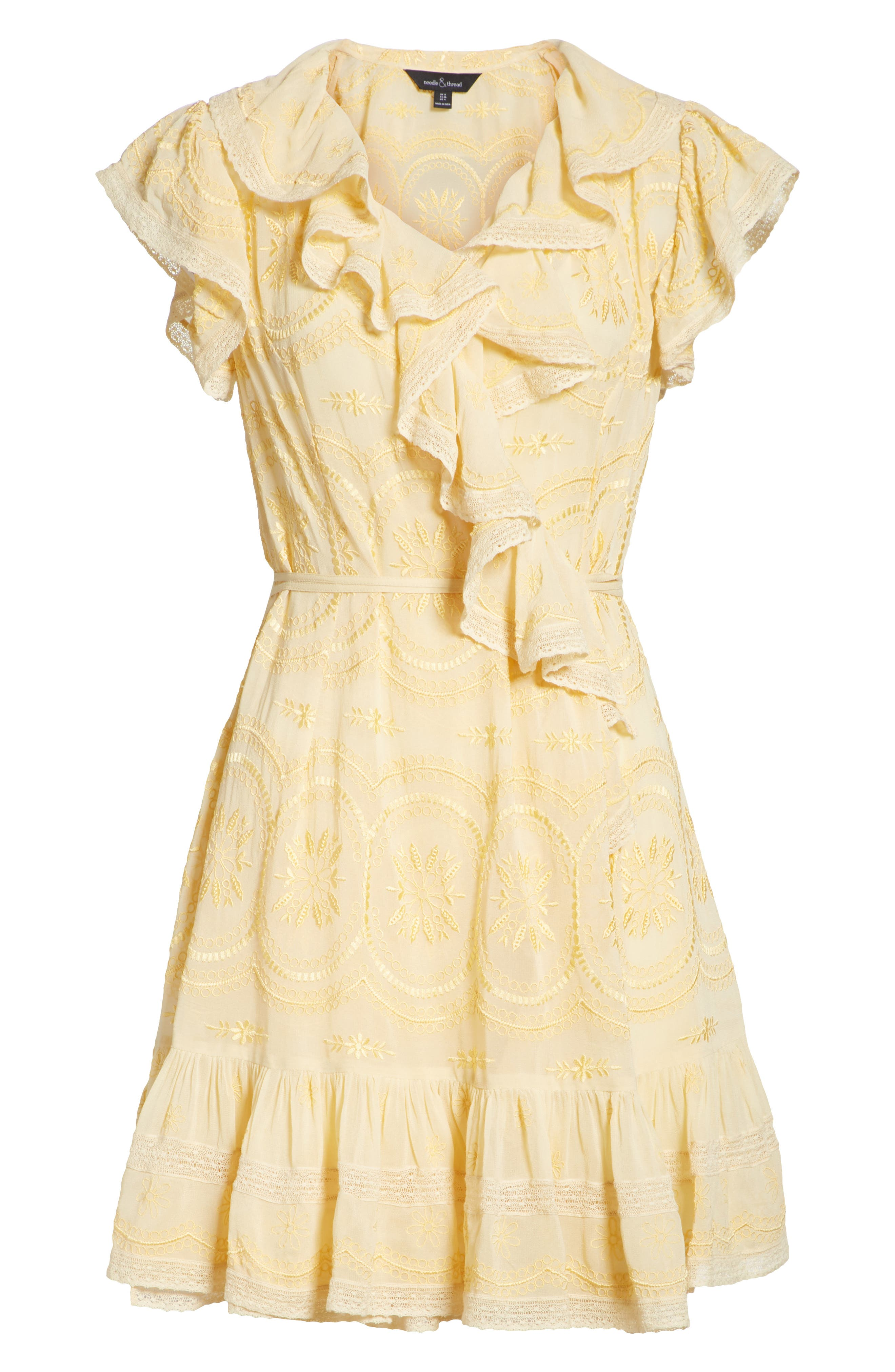 Anglaise Georgette Wrap Dress,                             Alternate thumbnail 6, color,                             Yellow