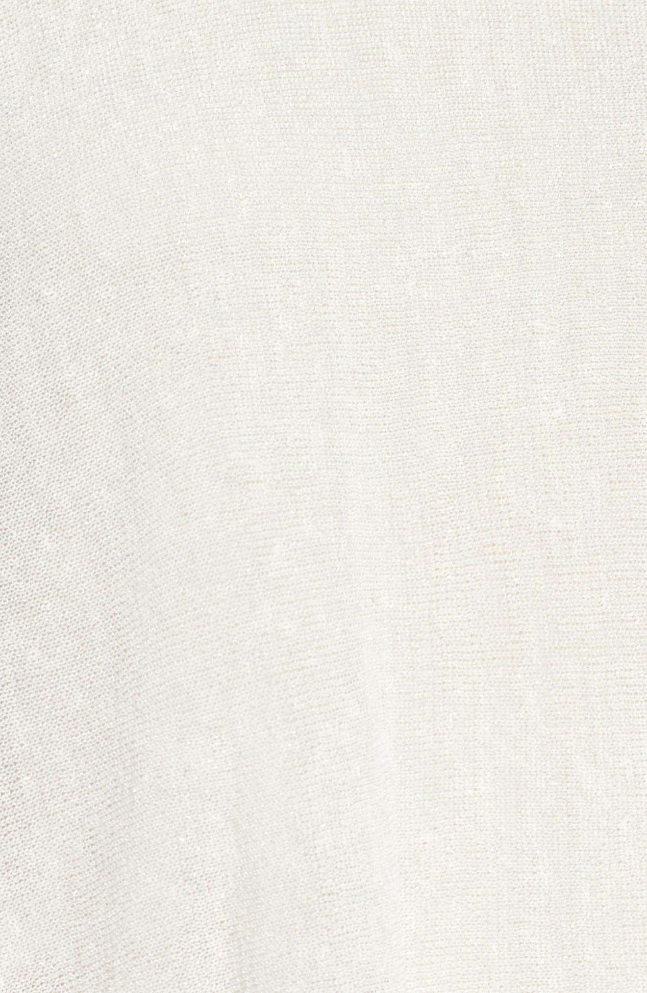 Organic Linen Blend Poncho,                             Alternate thumbnail 5, color,                             Bone
