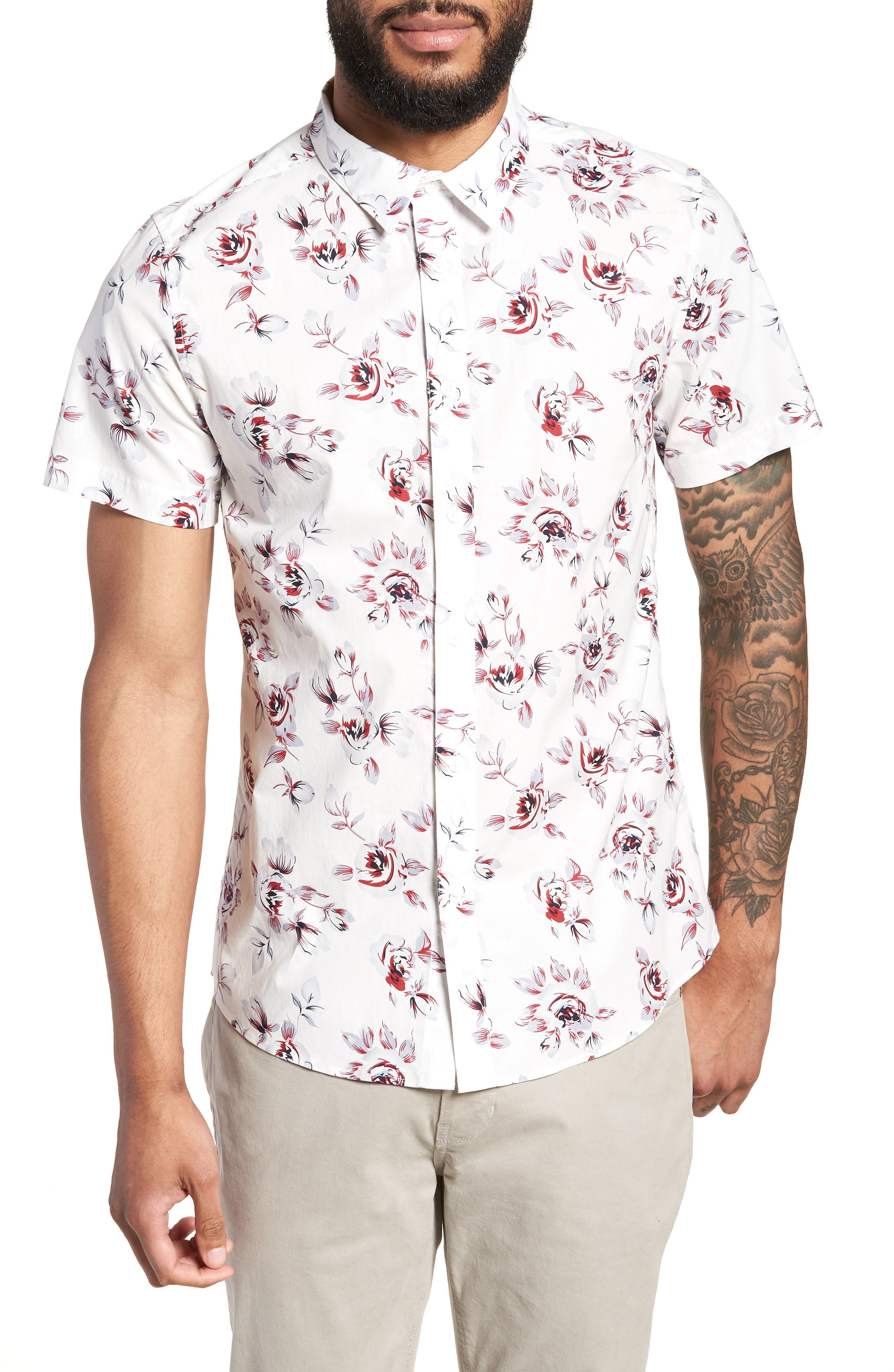 Trim Fit Print Woven Short Sleeve Shirt,                             Main thumbnail 1, color,                             White Red Rose