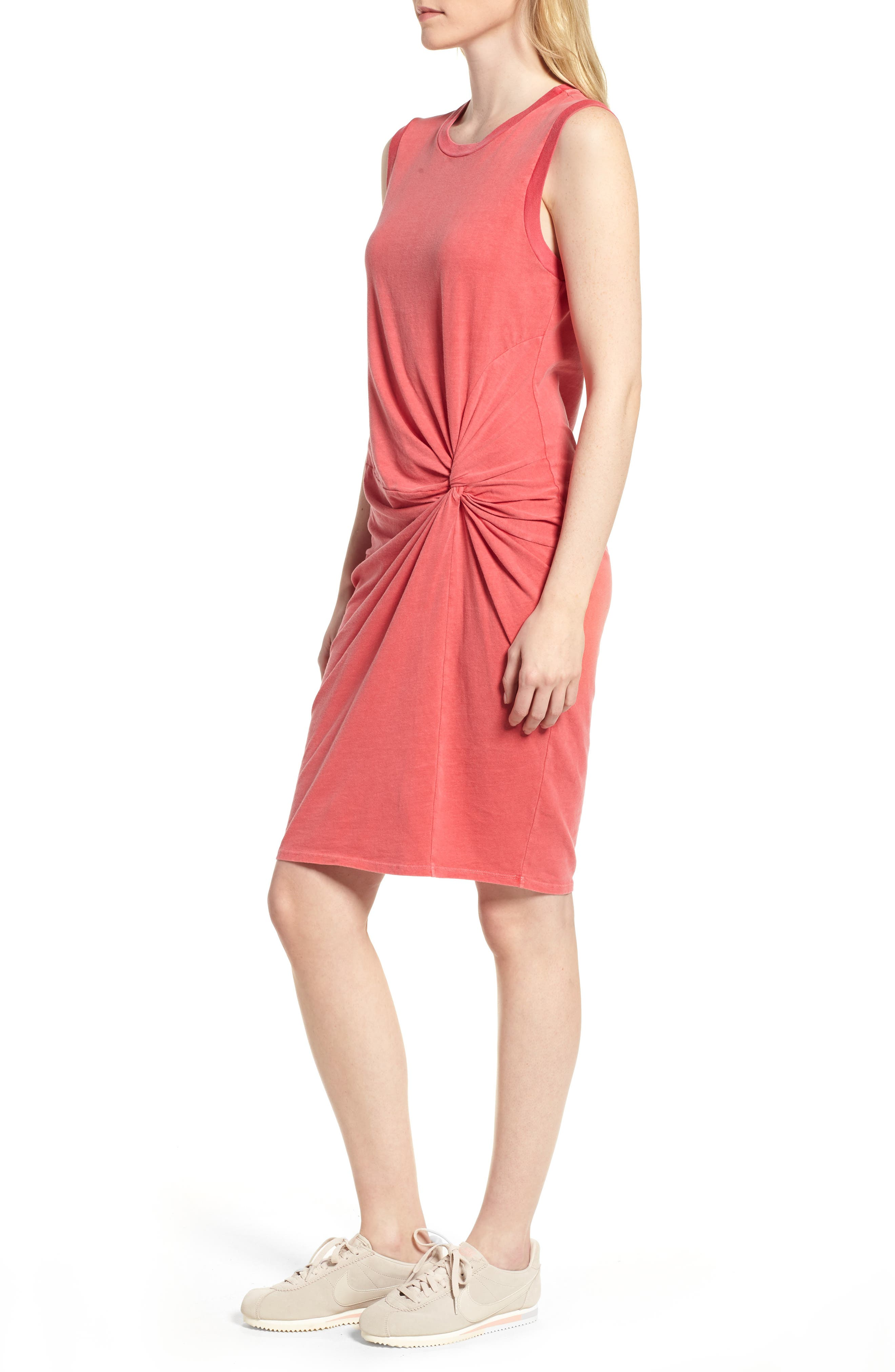 Twist Jersey Dress,                             Alternate thumbnail 3, color,                             Scarlet