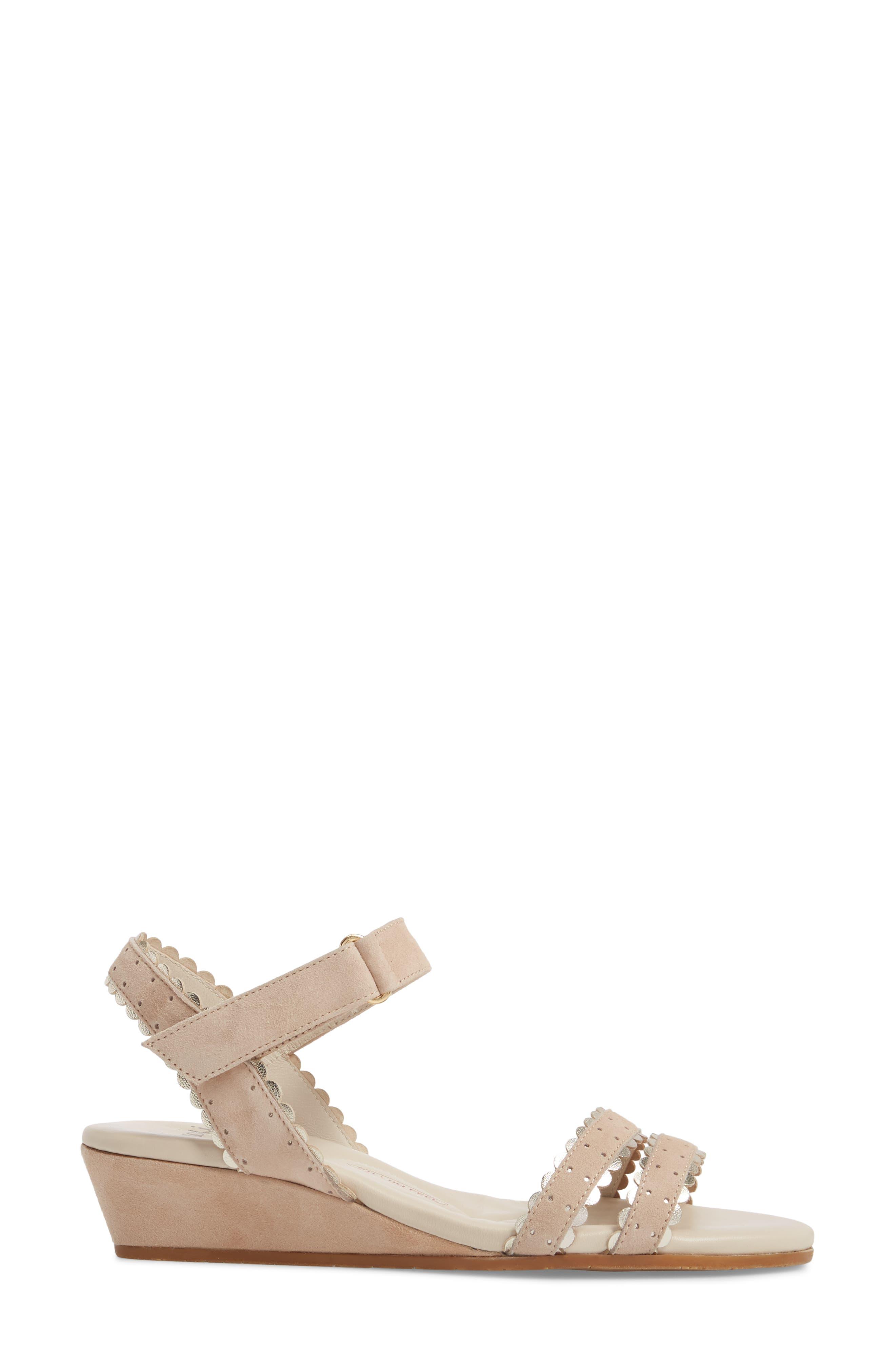 Messina Wedge Sandal,                             Alternate thumbnail 3, color,                             Cream/ Platinum Suede