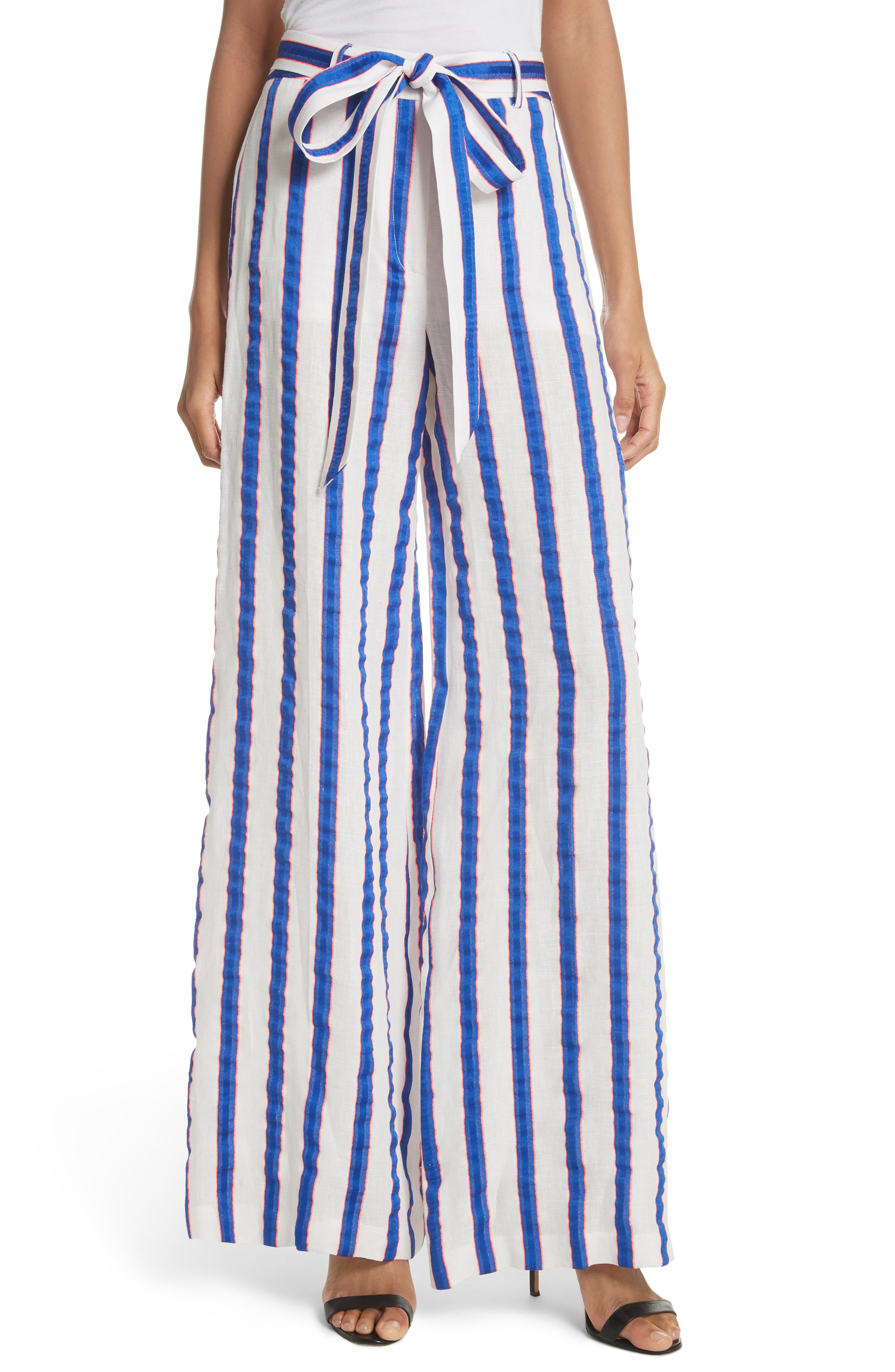 Milly Stripe Washed Linen Blend Pants