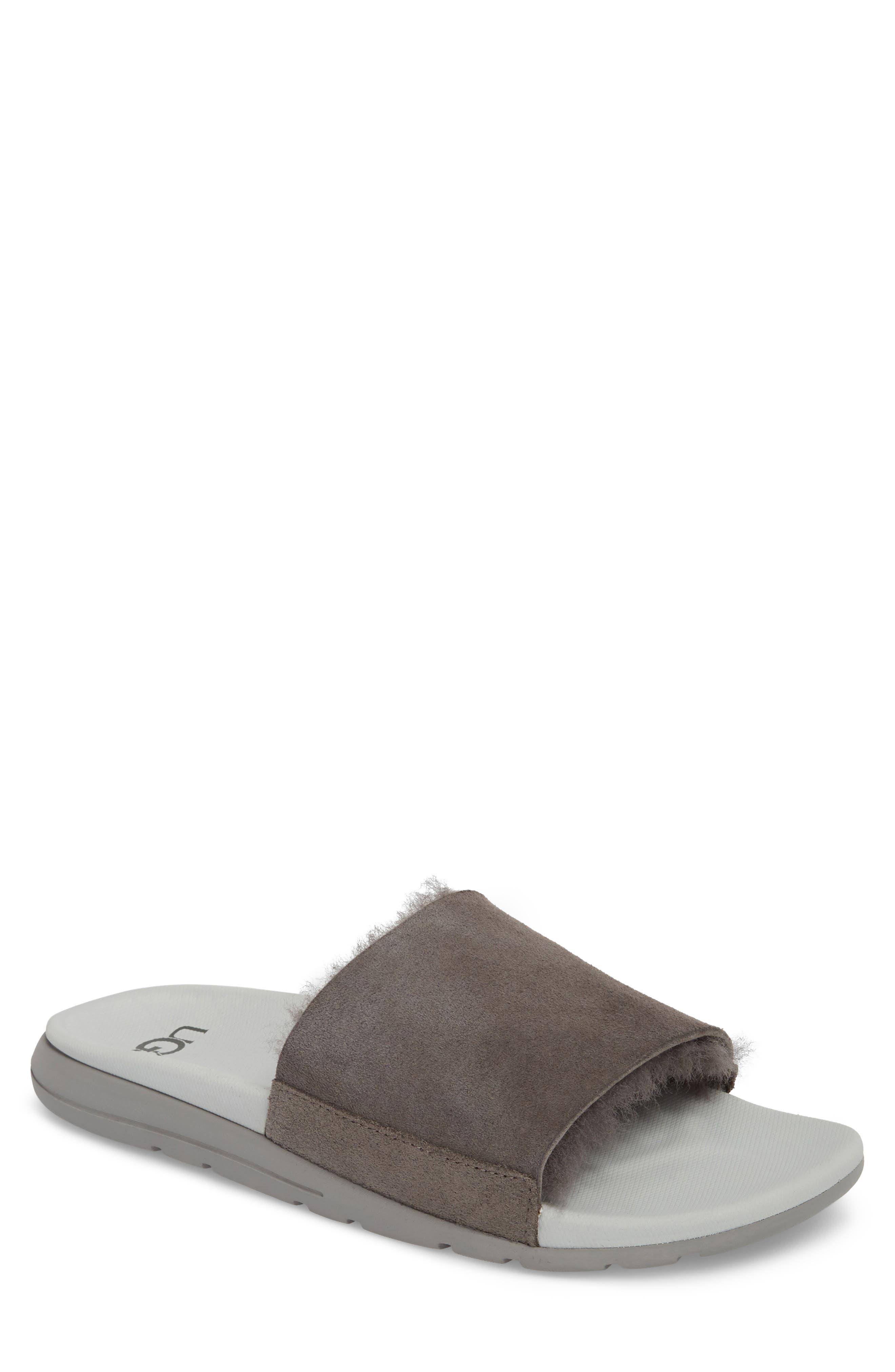 1ec97bbc9cb Ugg Xavier Tf Genuine Shearling Slide Sandal In Charcoal Leather ...