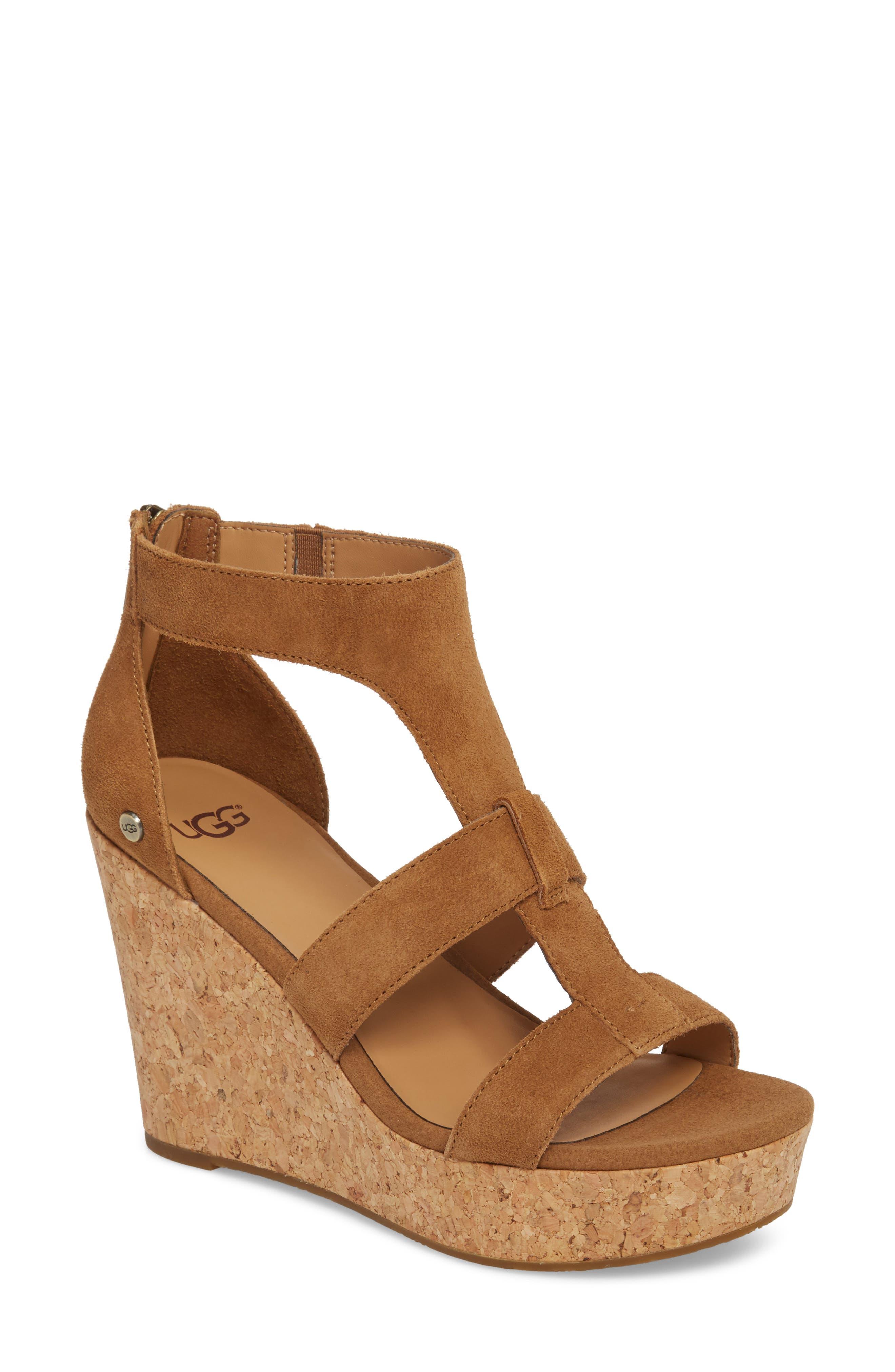 Whitney Platform Wedge Sandal,                             Main thumbnail 1, color,                             Chestnut