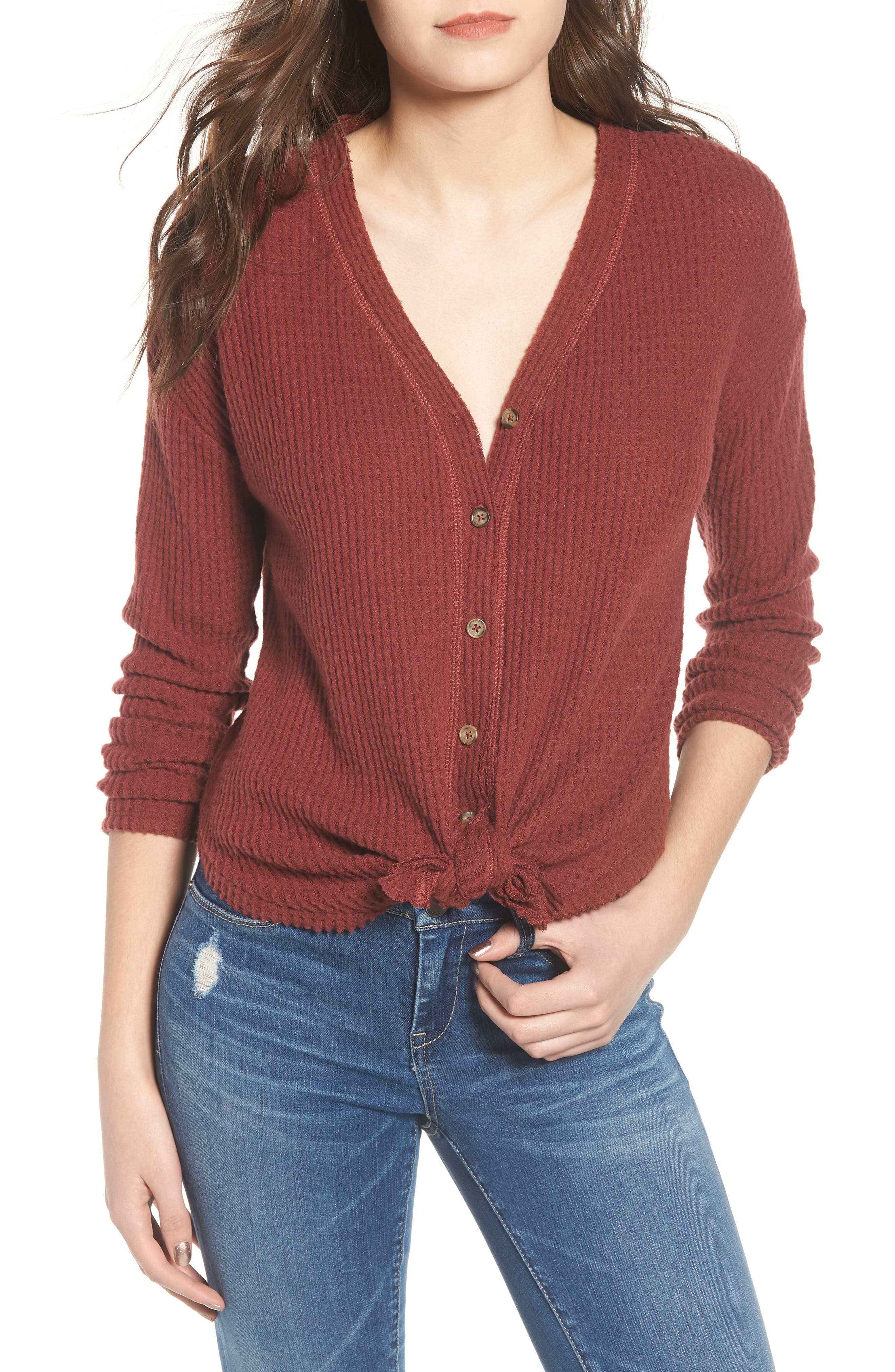 Socialite Thermal Button Front Shirt