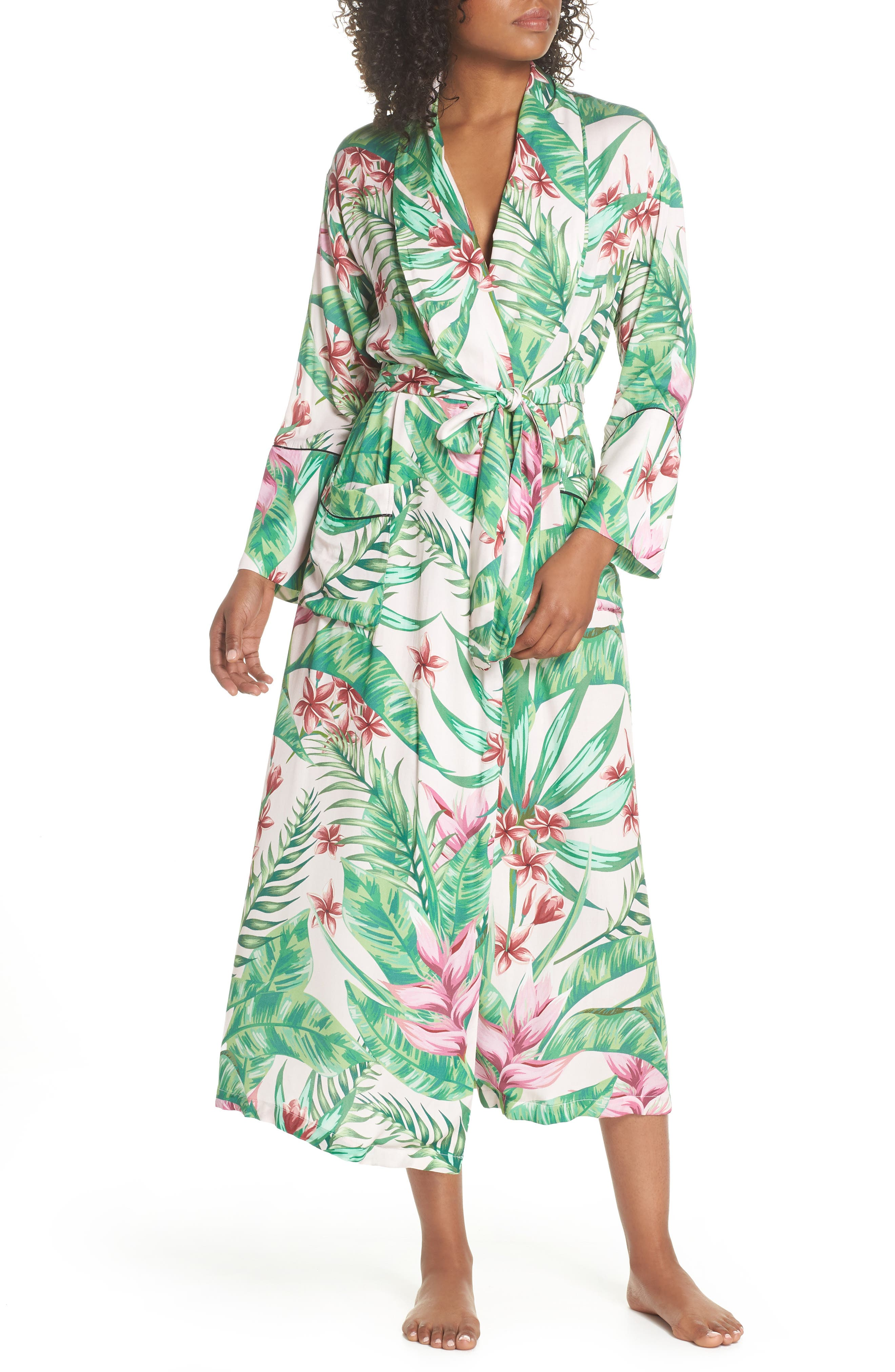 Floral Print Robe,                             Main thumbnail 1, color,                             Avalon Palm